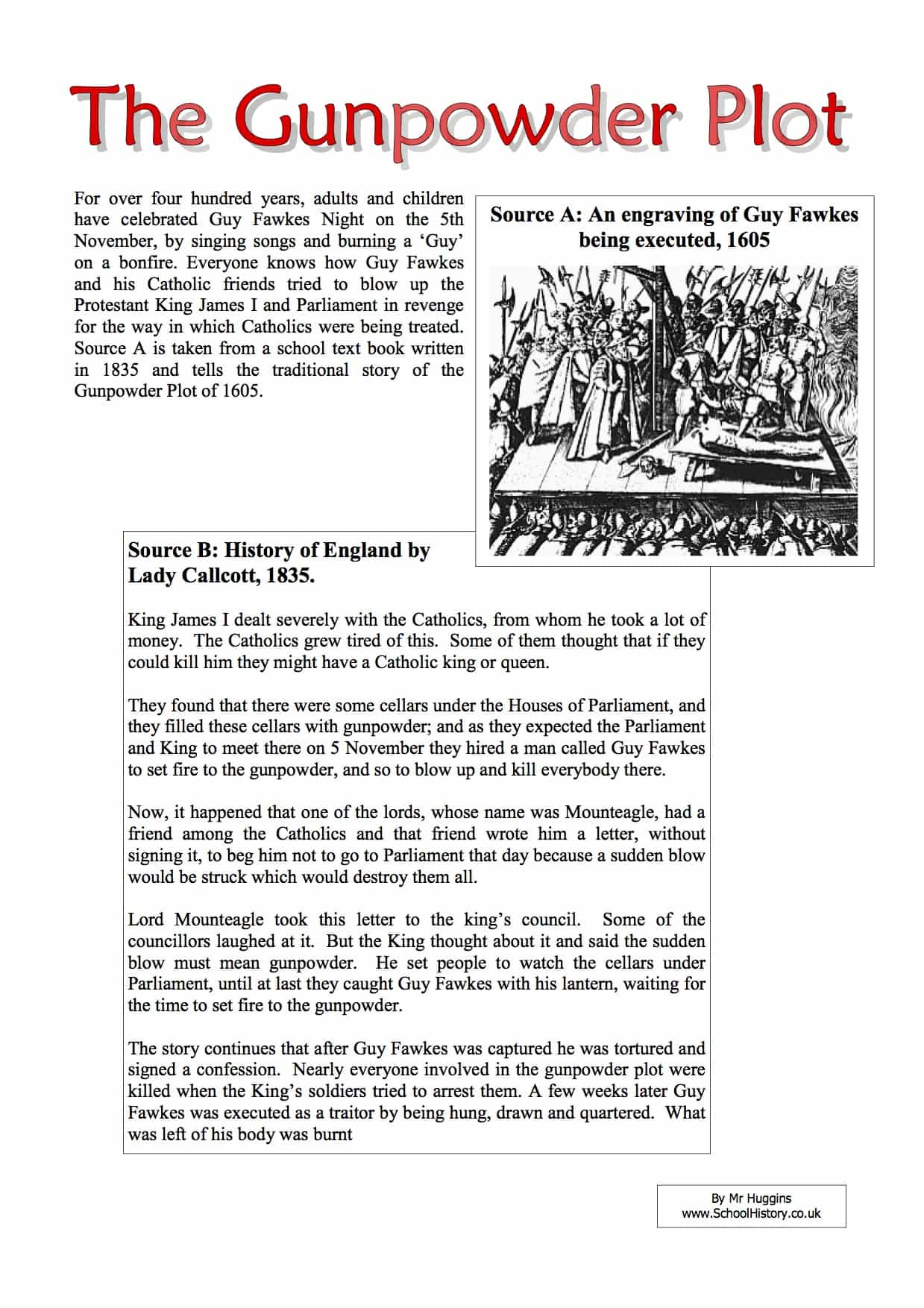 The Gunpowder Plot Facts Worksheet