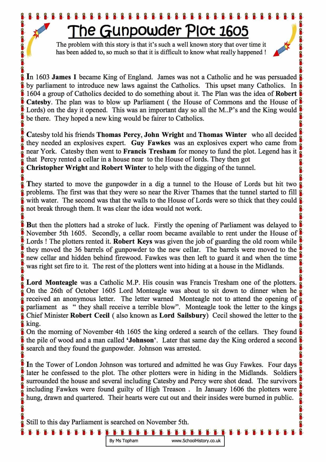 Summary Of The Gunpowder Plot Worksheet