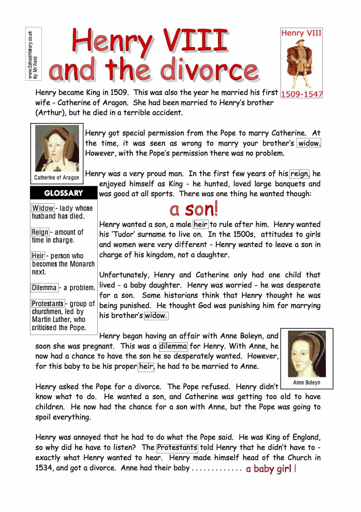 Henry Viii And The Divorce Worksheet