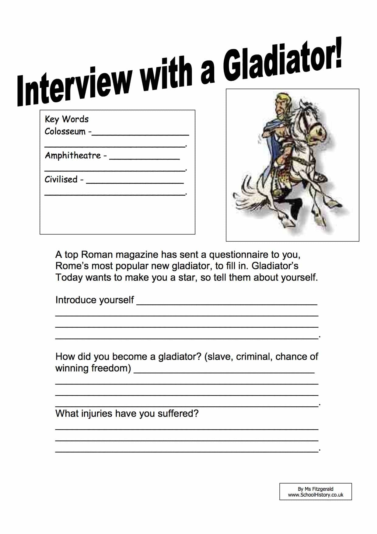 Interview With a Gladiator Worksheet | Year 7 Printable PDF