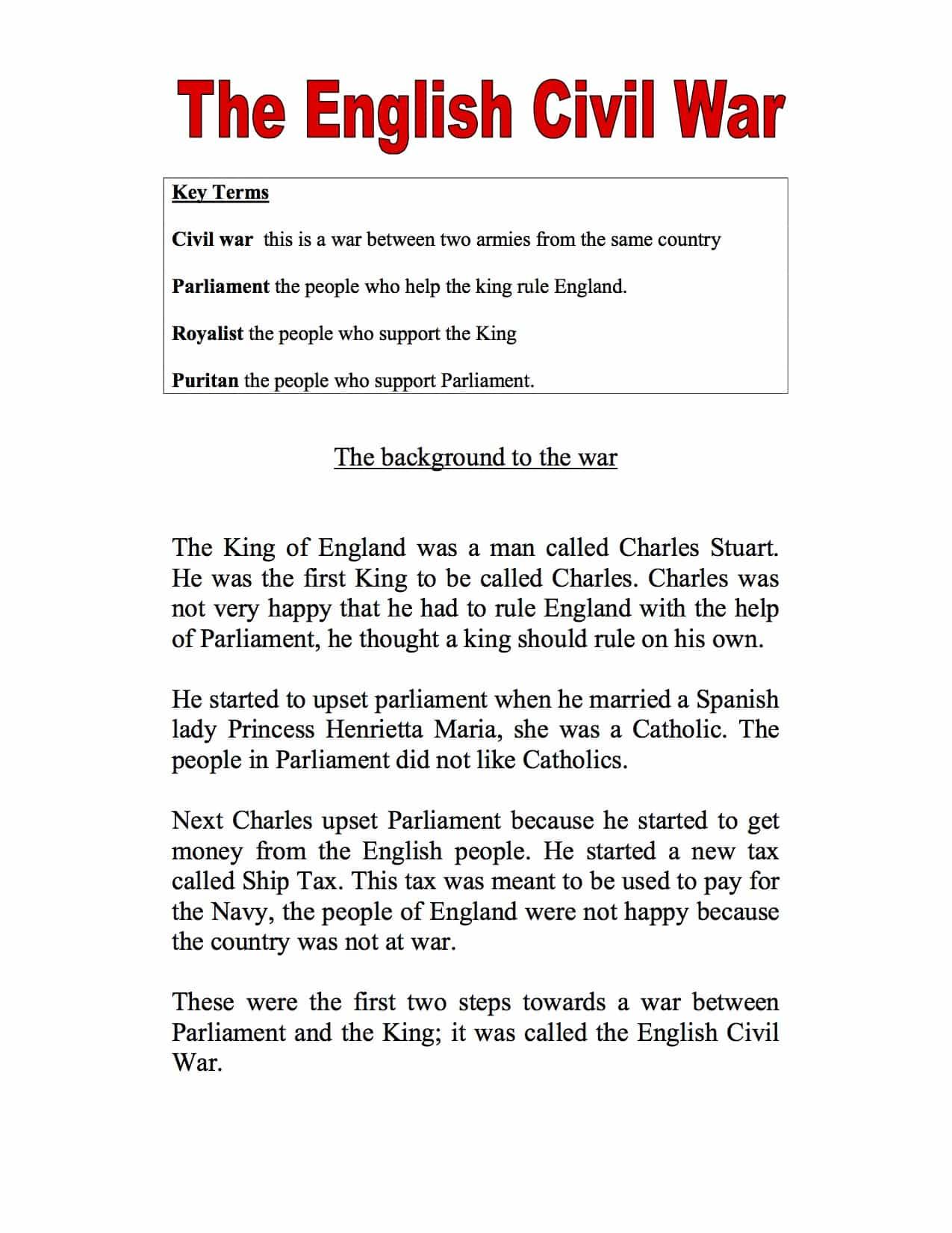 Introduction To The English Civil War Sen Pupils Worksheet