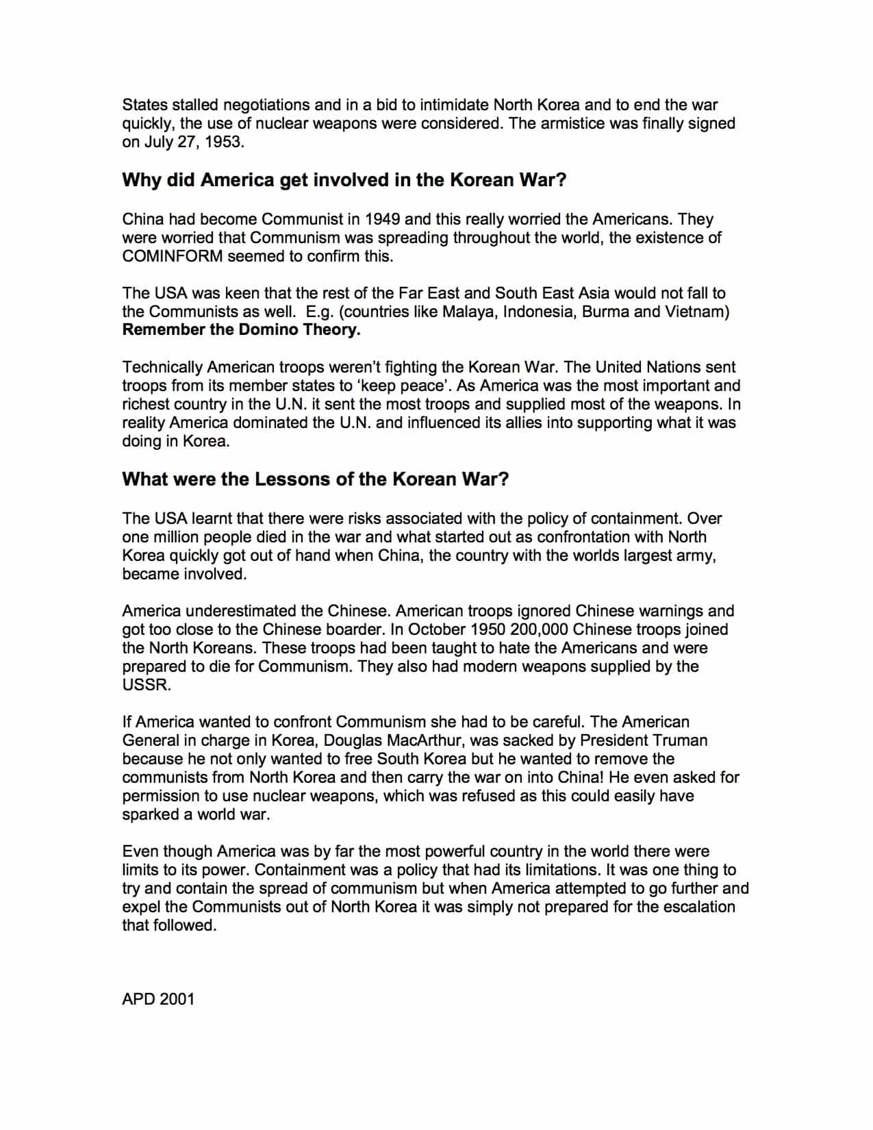 Events During The Korean War Facts Amp Information Worksheet