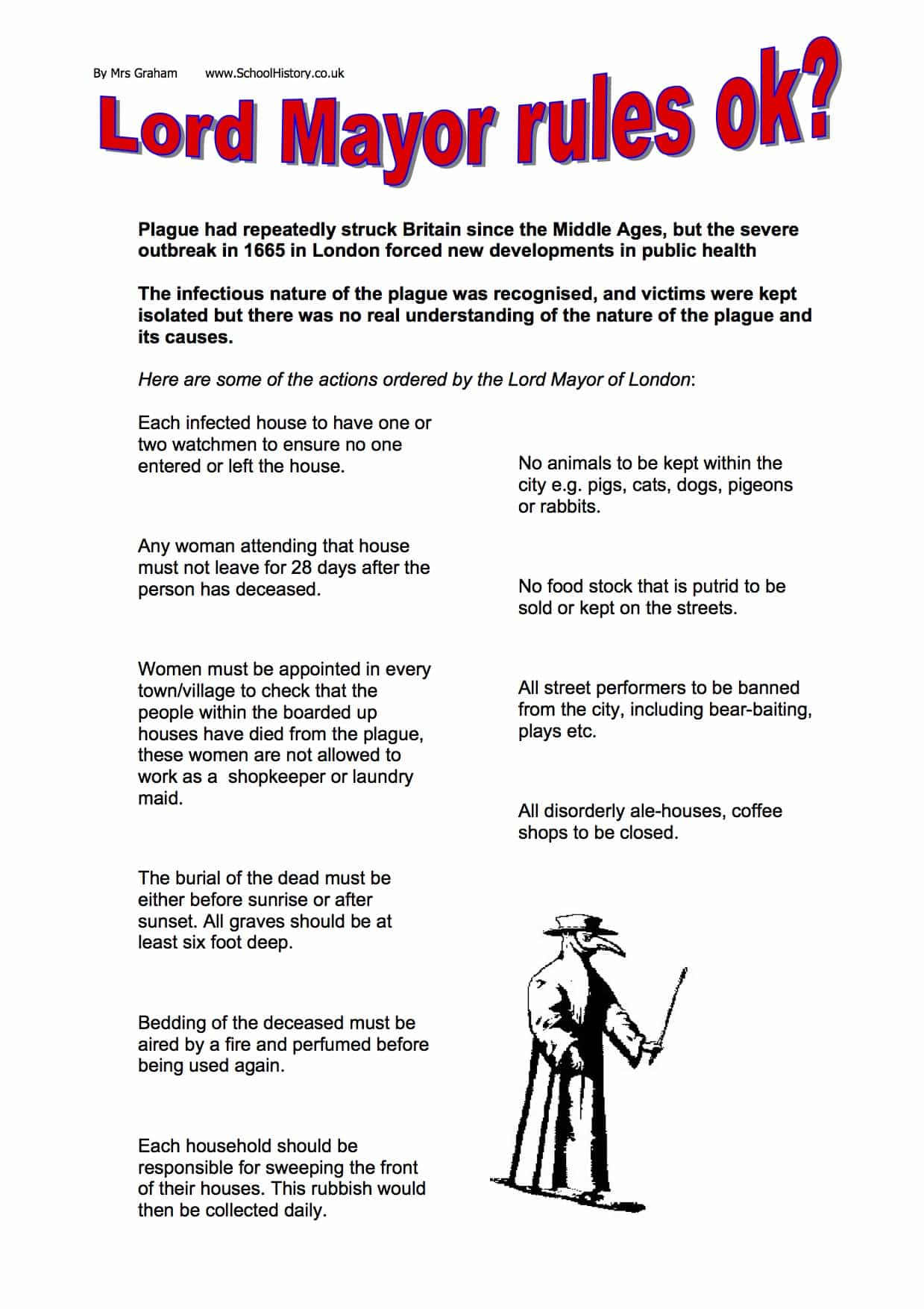 Lord Mayor Rules During The Plague Worksheet