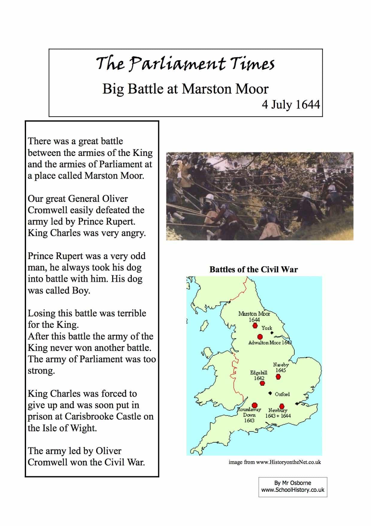 Big Battle At Marston Moor Facts Amp Information Worksheet