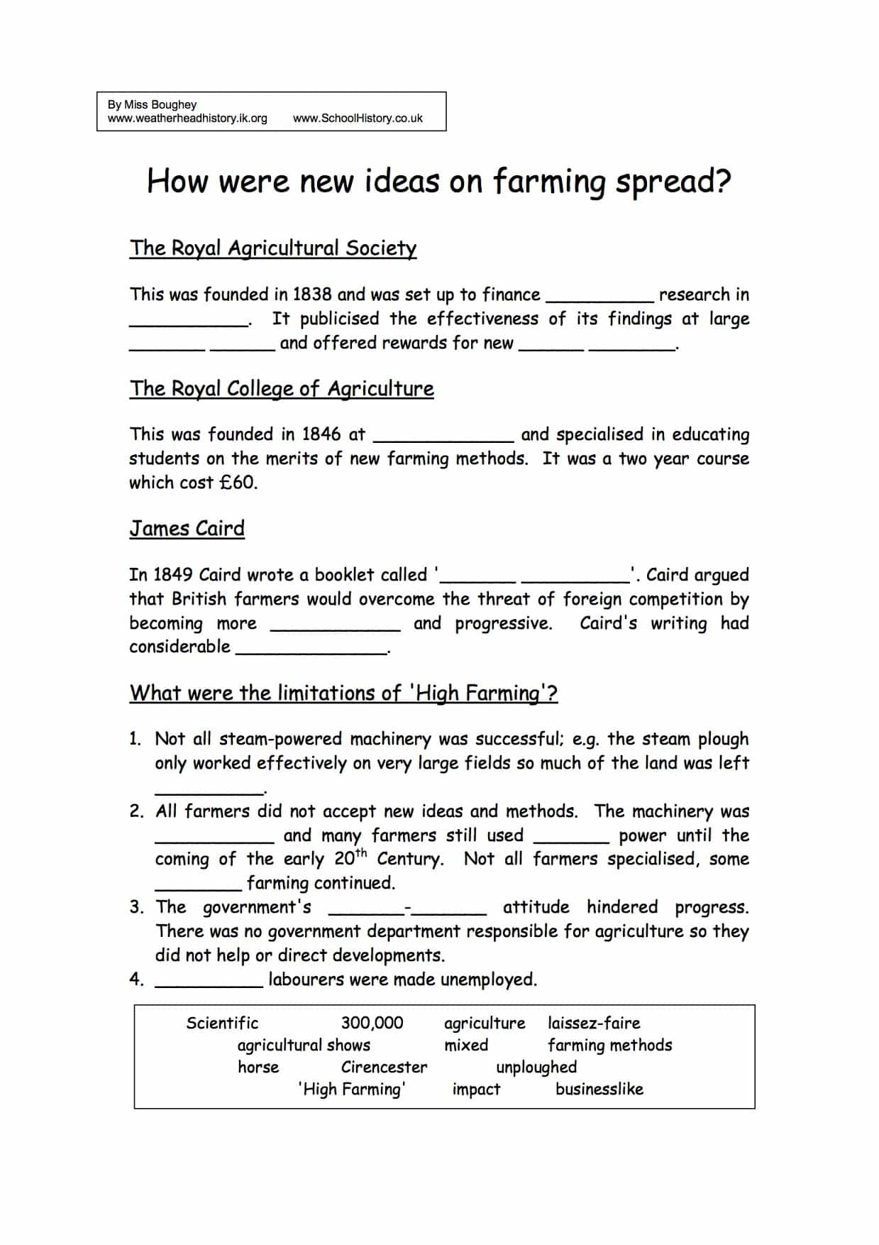 How Were New Ideas On Farming Spread Worksheet