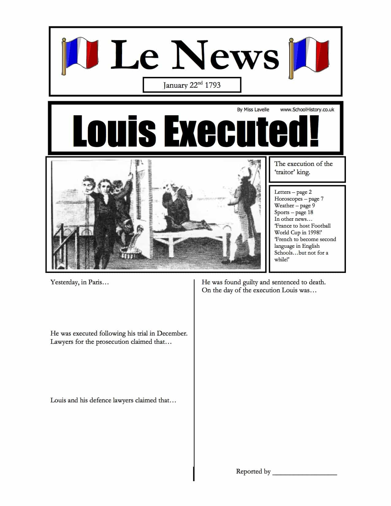 King Louis Executed Newspaper Worksheet