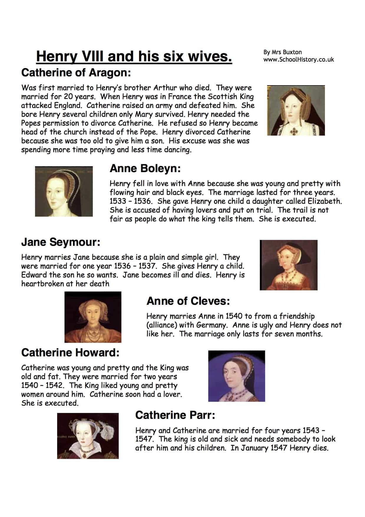 Henry Viii And His Six Wives Facts Amp Information Worksheet