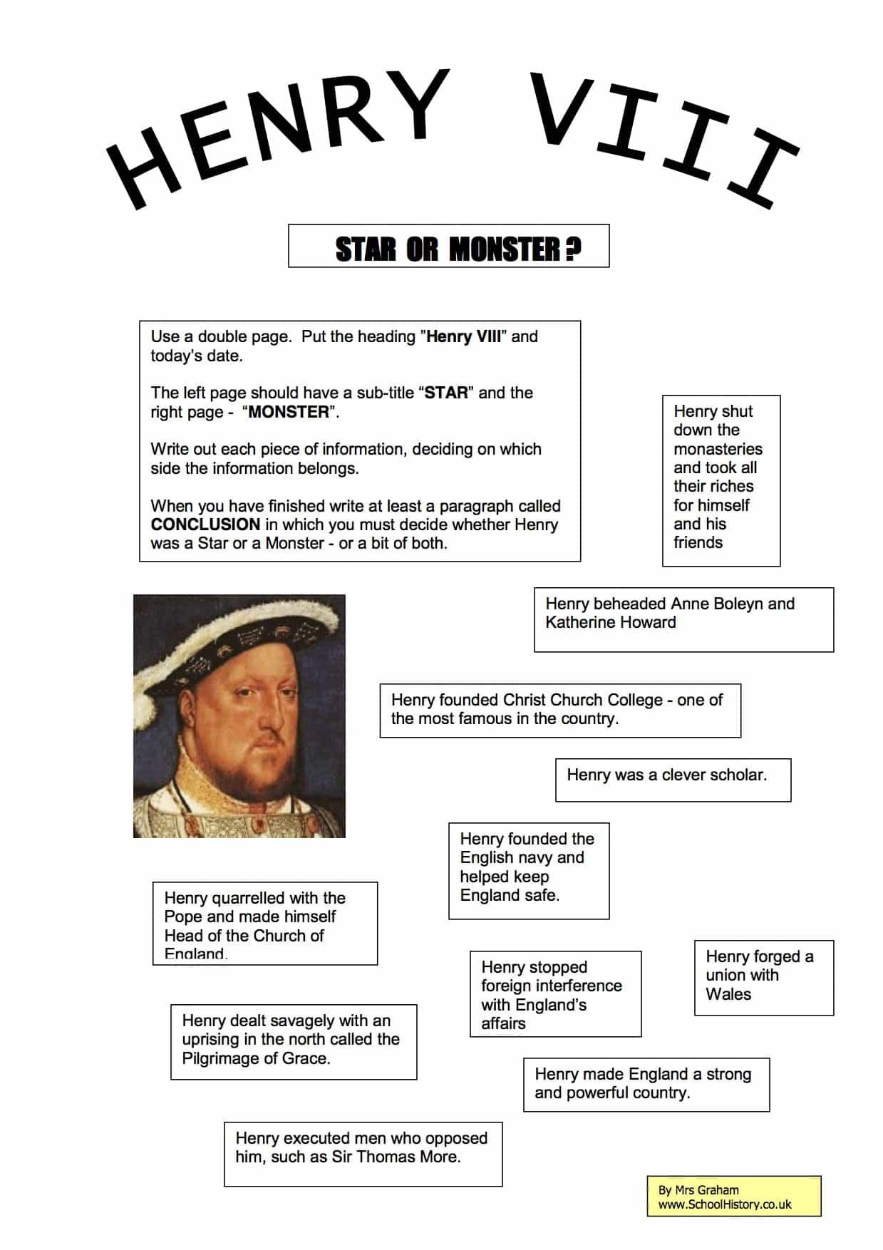 Henry Viii Star Or Monster Worksheet