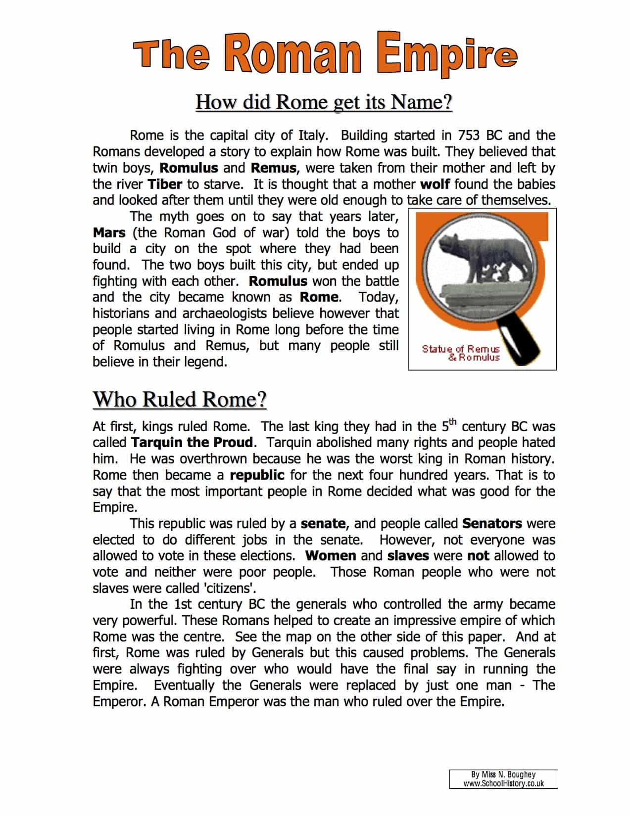 The Roman Empire Name Facts Amp Information Worksheet