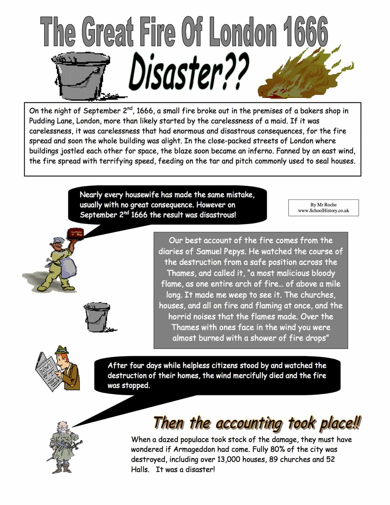 The Great Fire Of London Disaster Worksheet