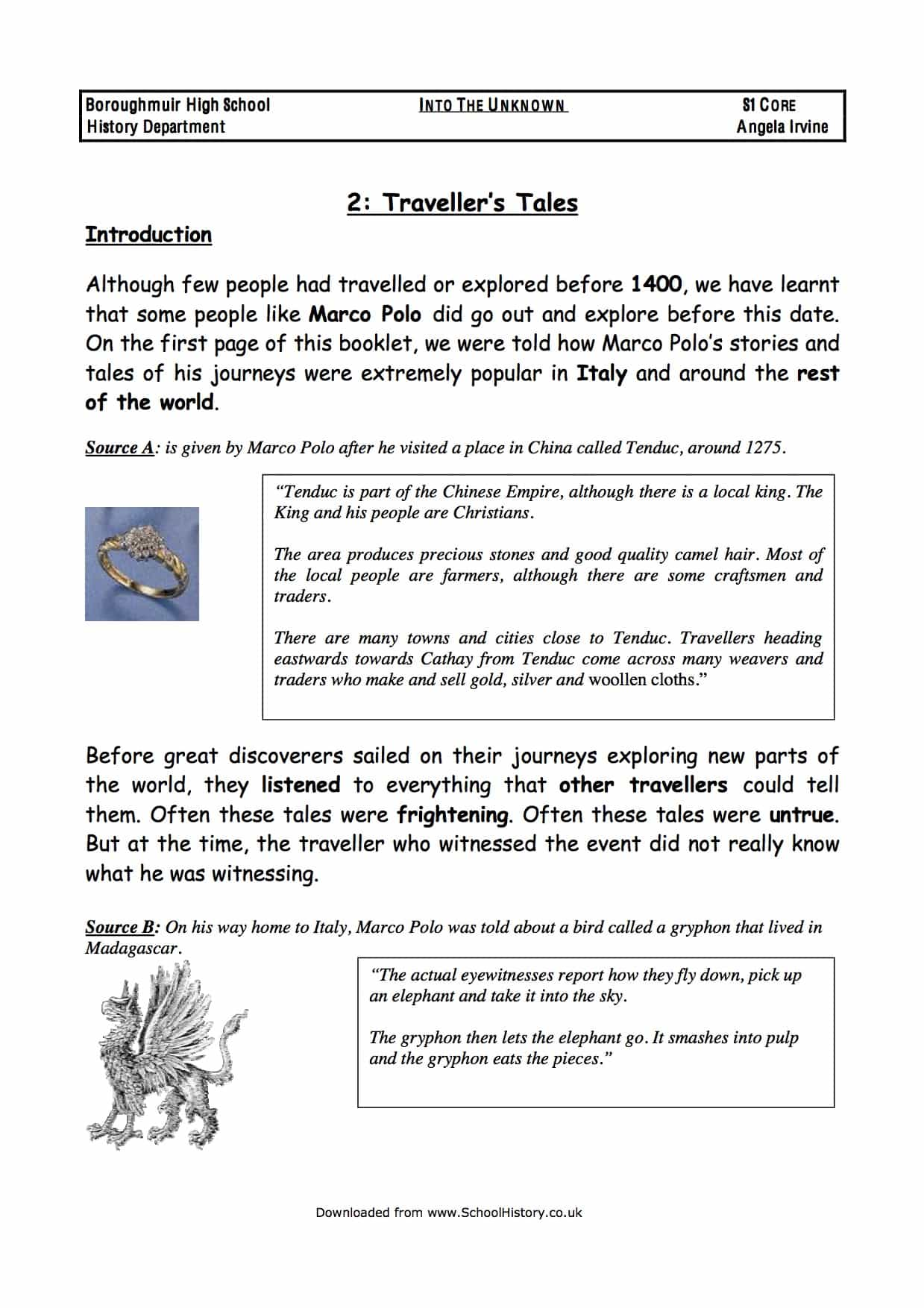 Traveller S Tales Worksheet