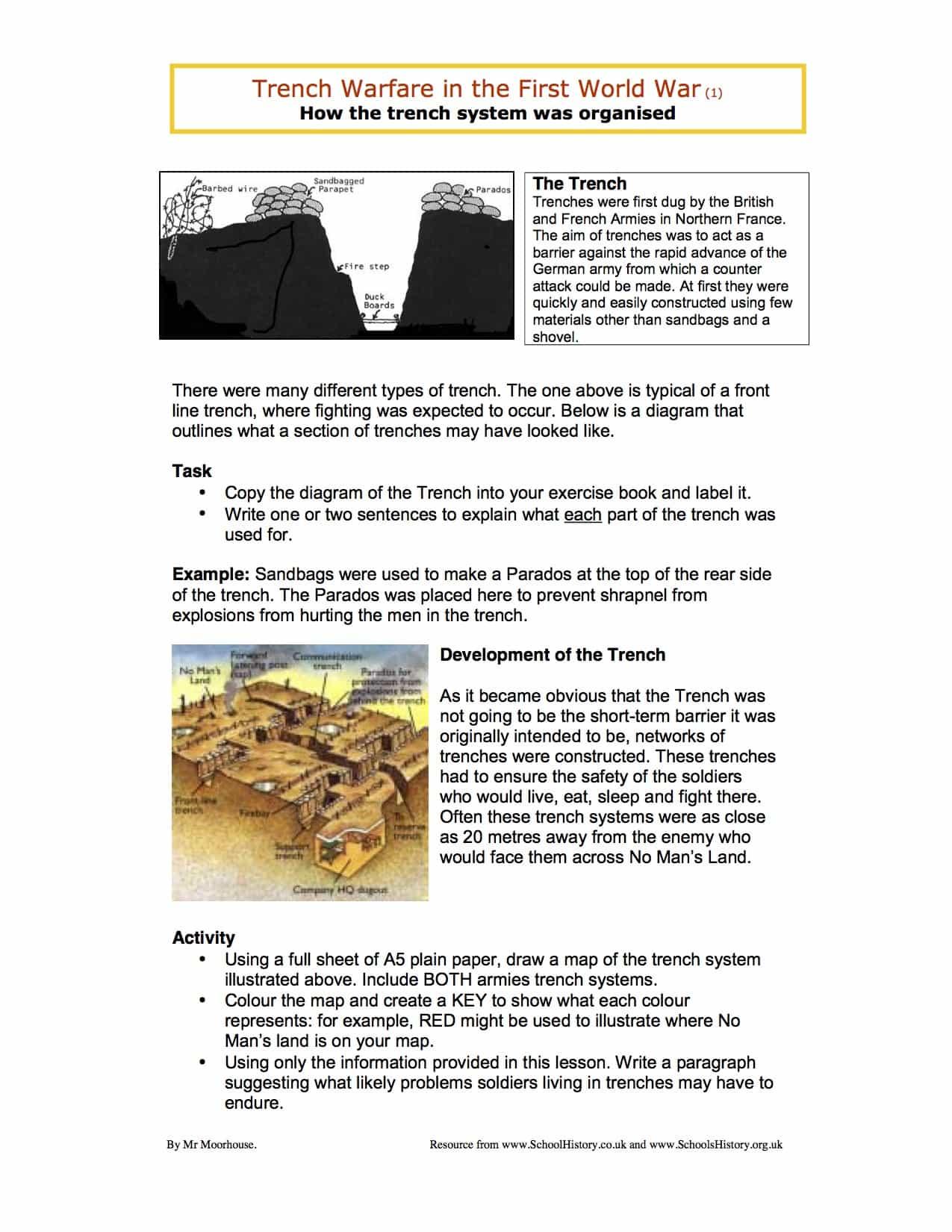 First World War Worksheet