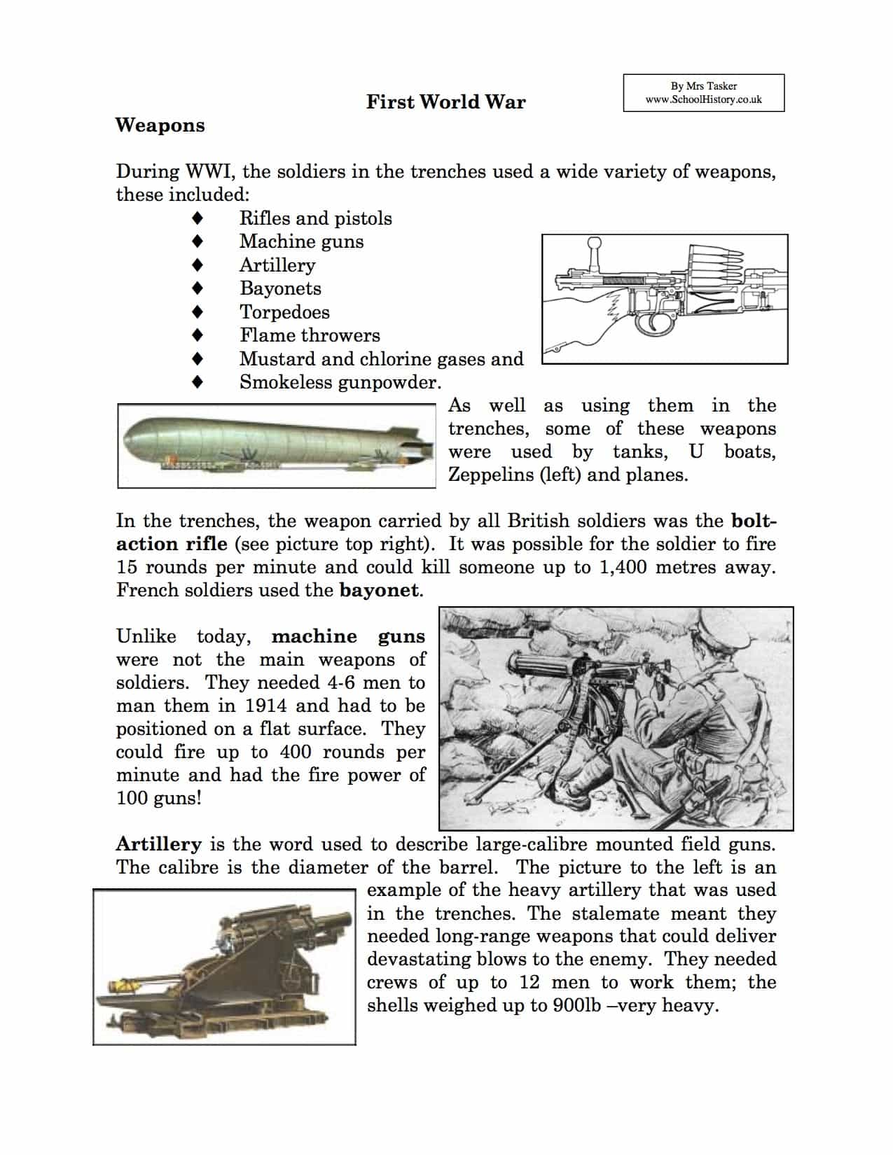 World War 1 Worksheets Ks2