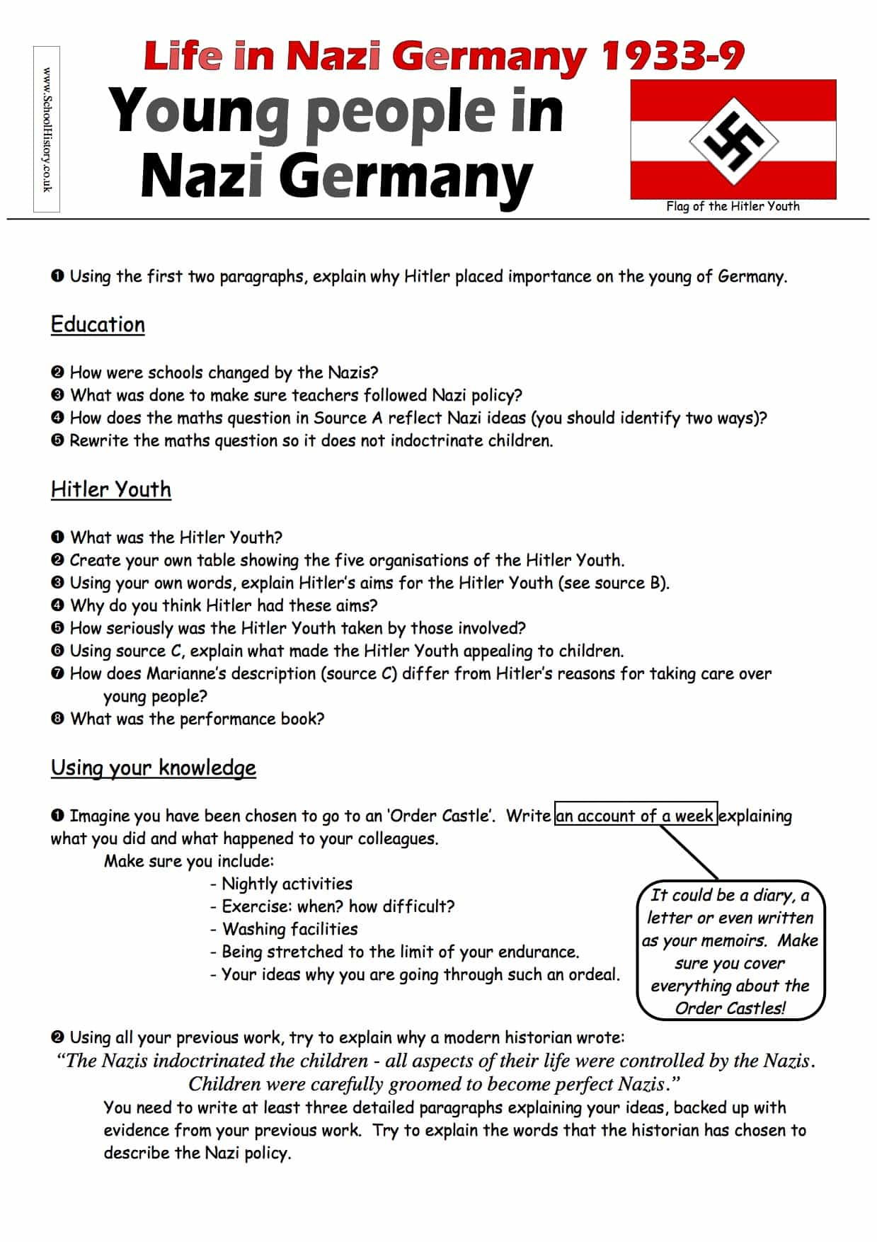 Life In Nazi Germany For The Youth Worksheet