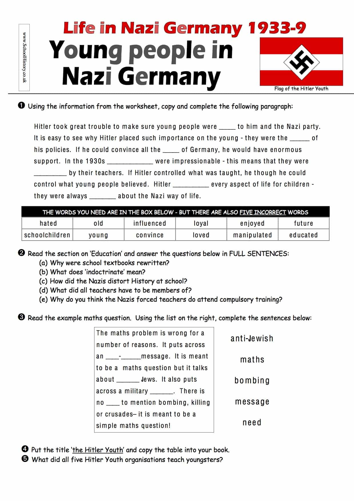 Life In Nazi Germany Young People Assessment Lower