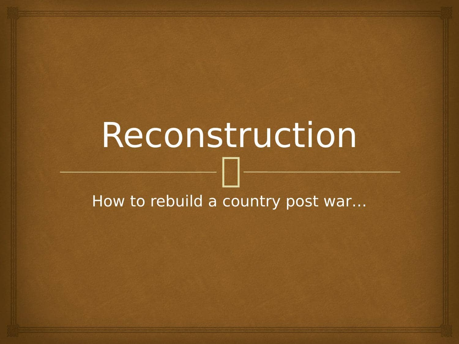 Reconstruction After The American Civil War
