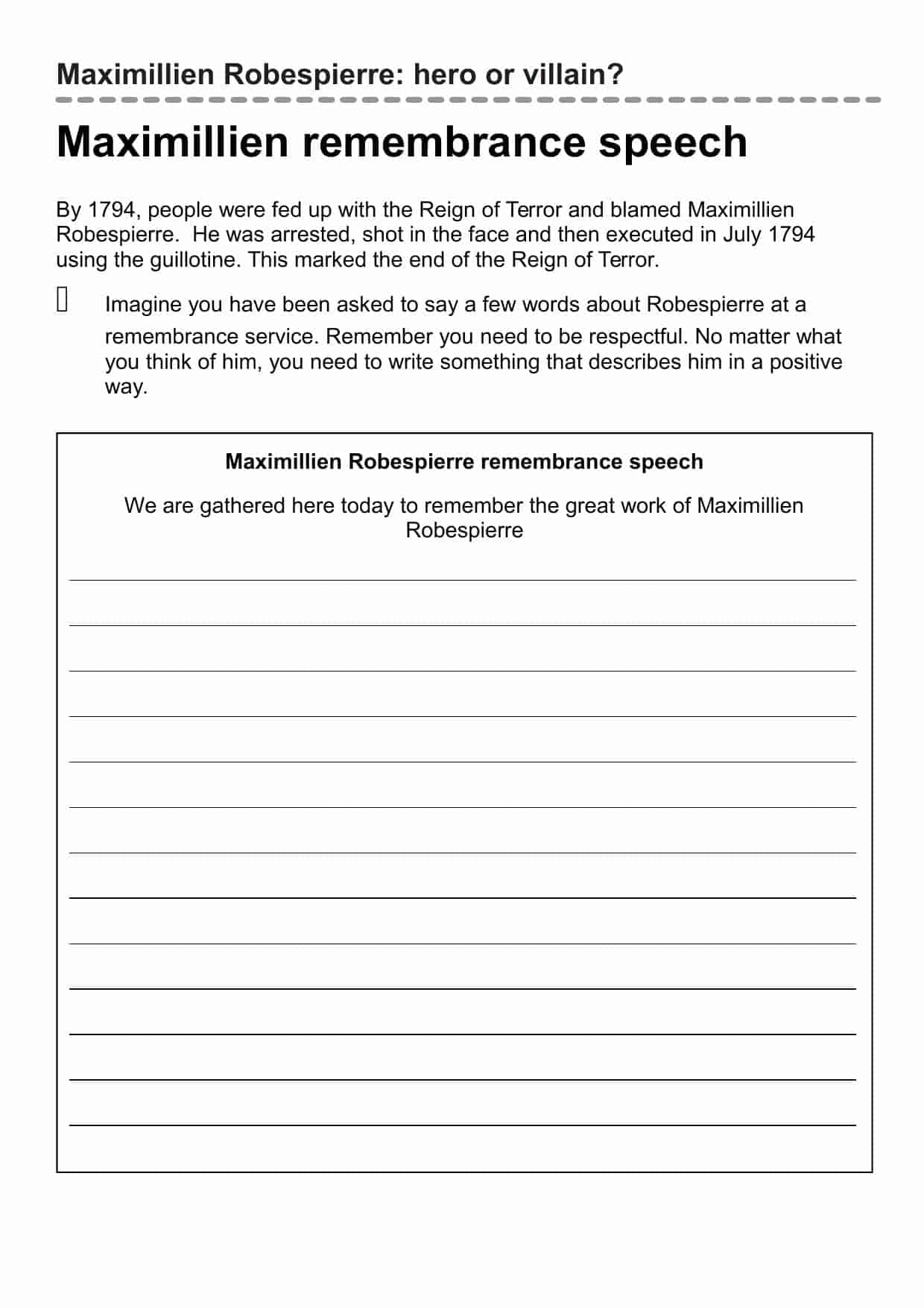 Maximillien Remembrance Speech Writing Frame Worksheet