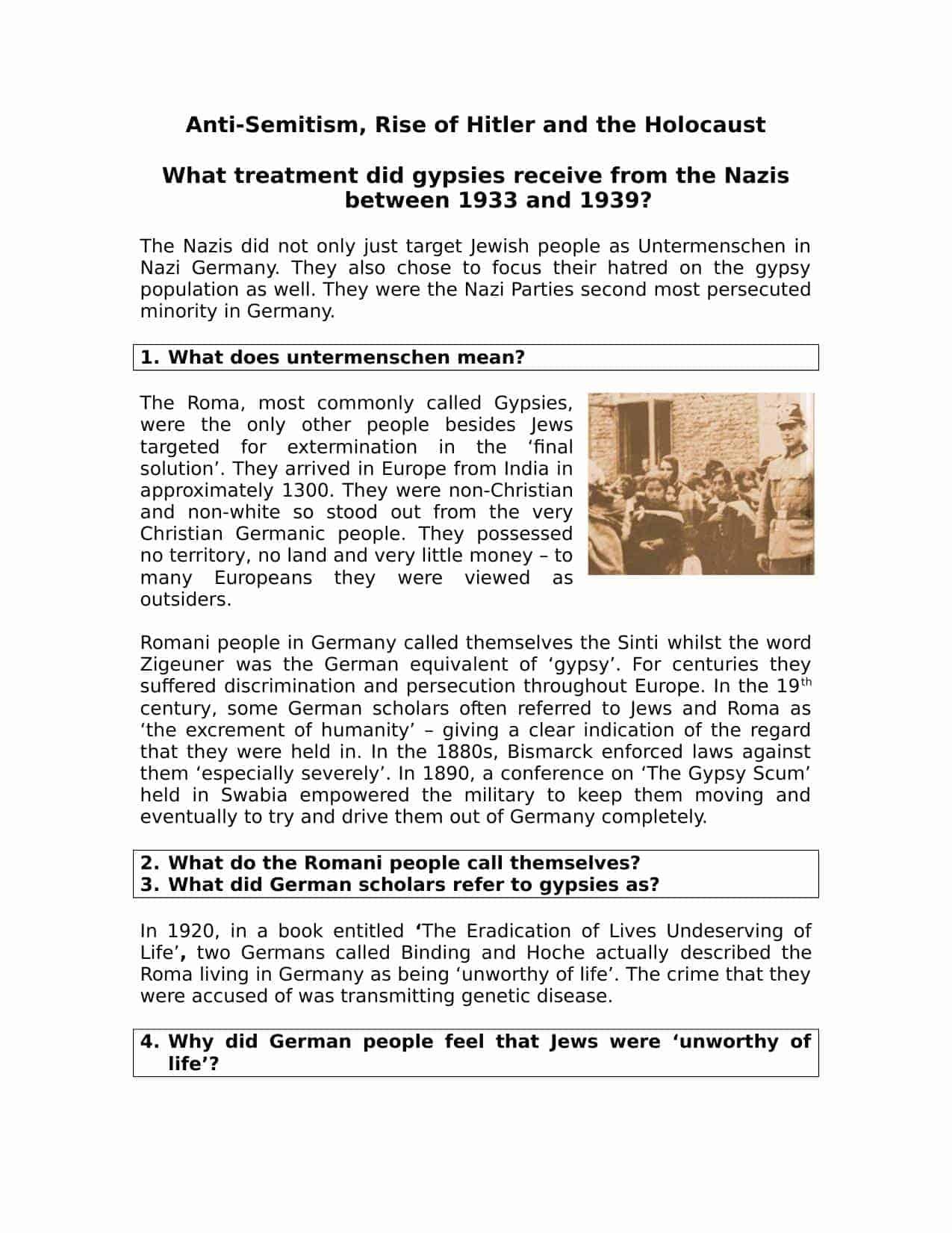 Treatment Of Gypsies In Nazi Germany
