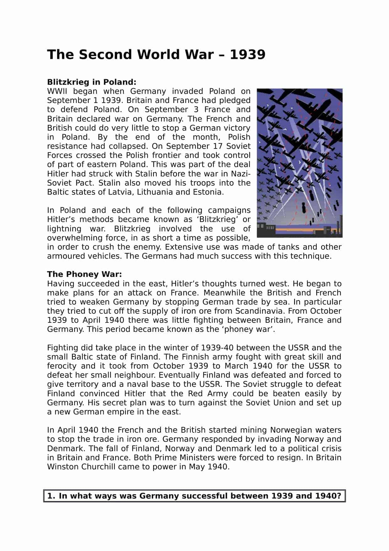 The Second Word War Facts Amp Summary Worksheet