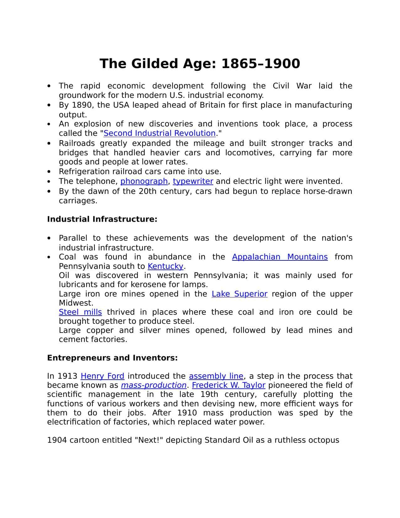 American Finance In The Gilded Age Worksheet