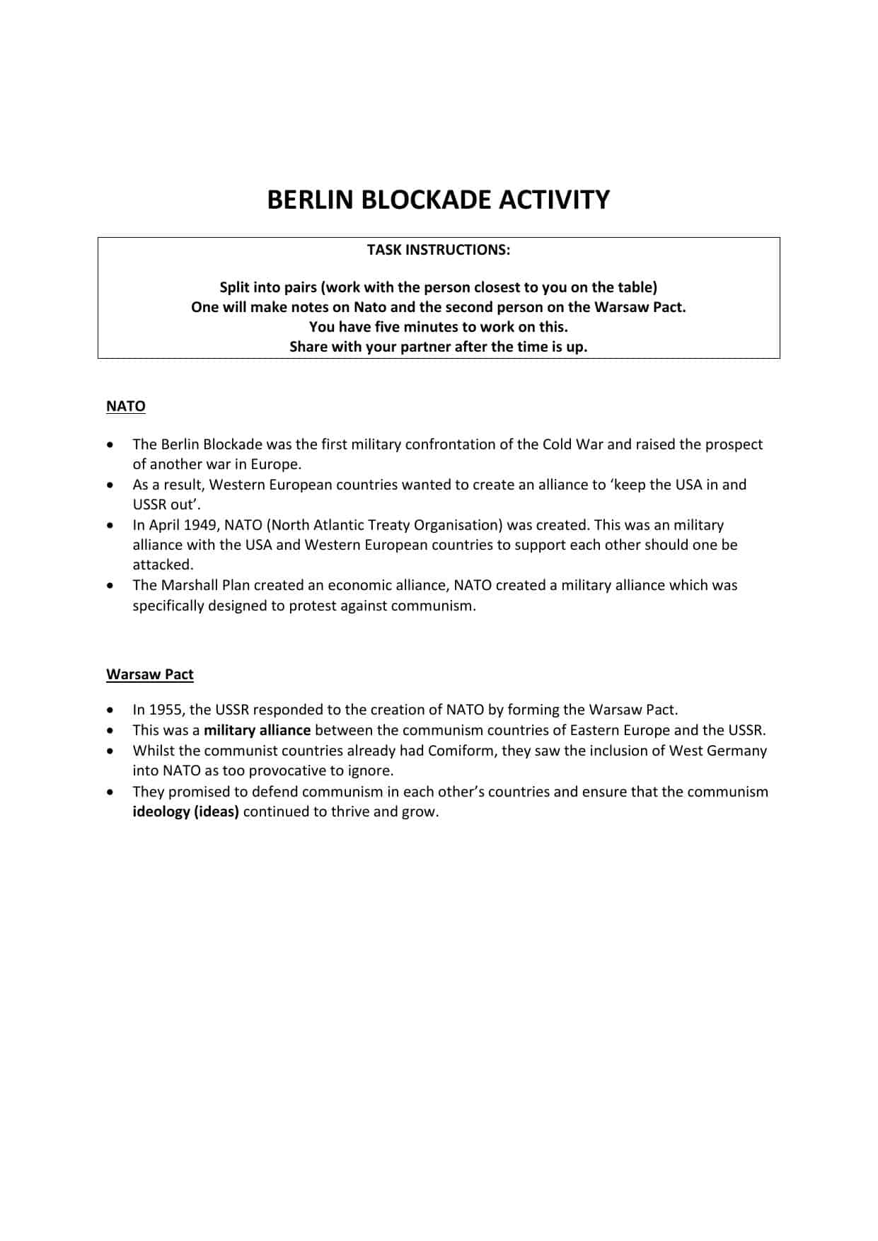 Gcse Berlin Blockade Worksheet