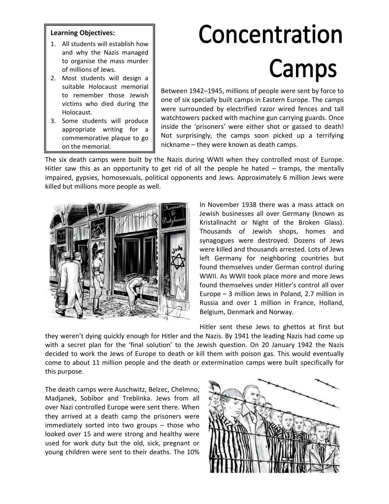 Concentration Camp Activity Worksheet