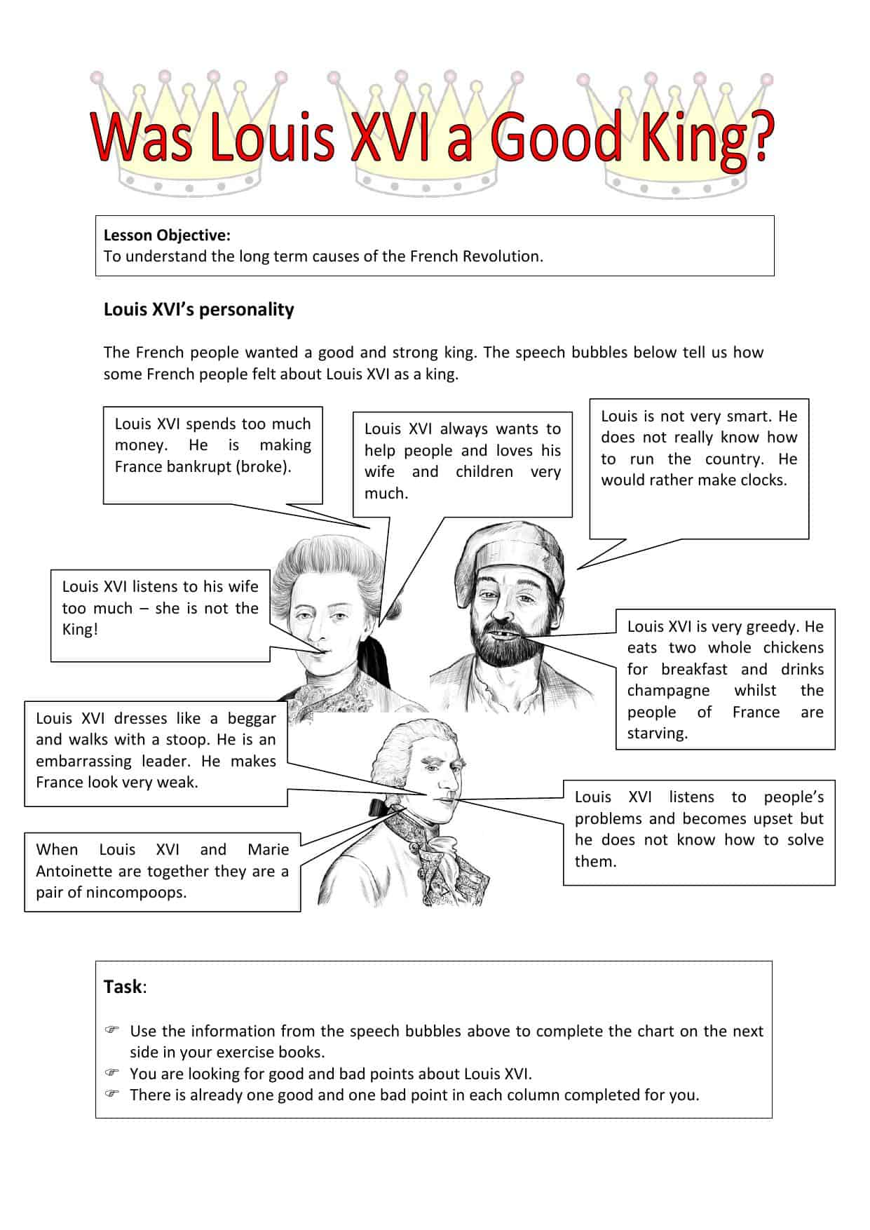 Did Louis Xvi Have The Qualities Of A Good King Worksheet
