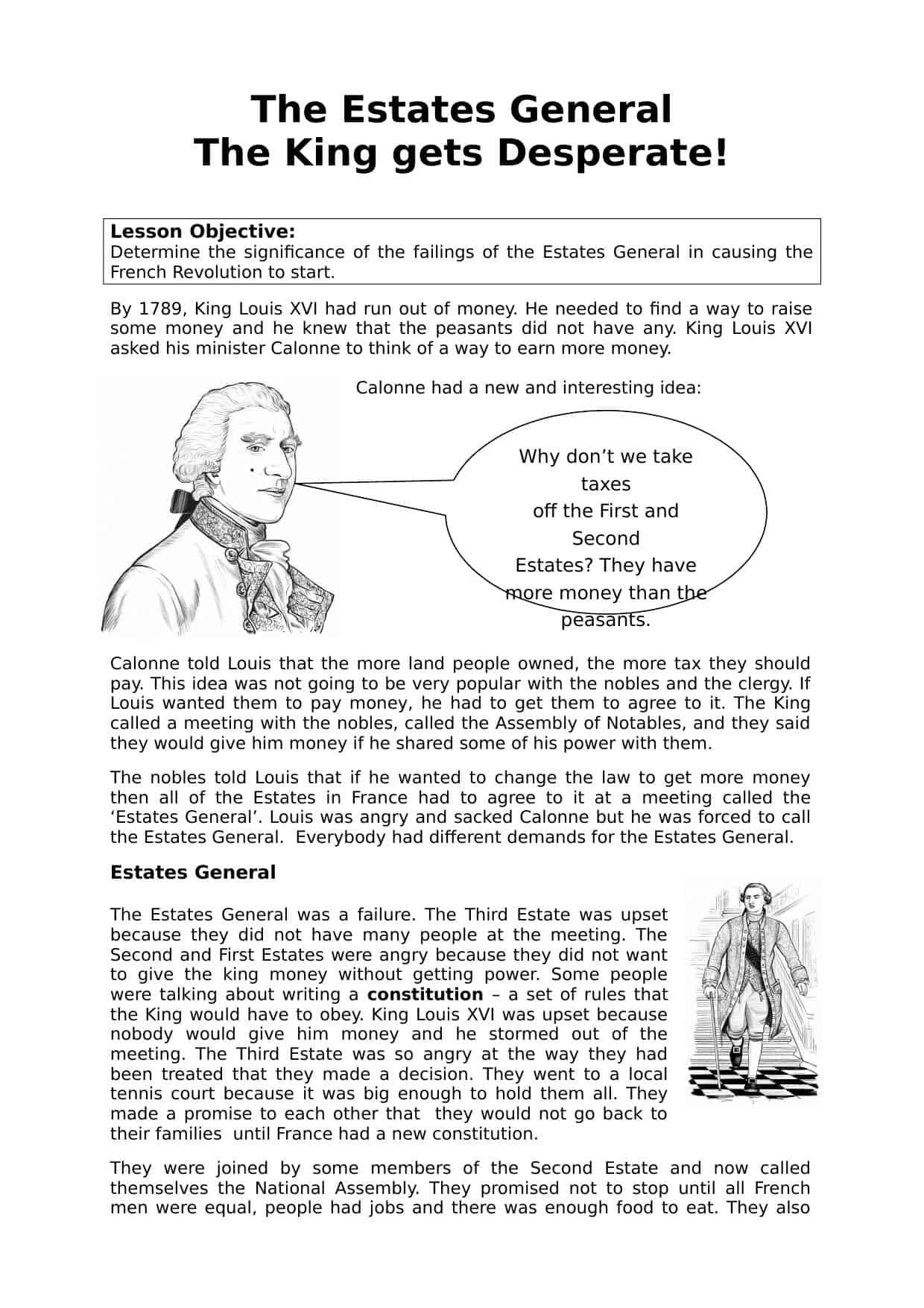 Estates General Information Worksheet