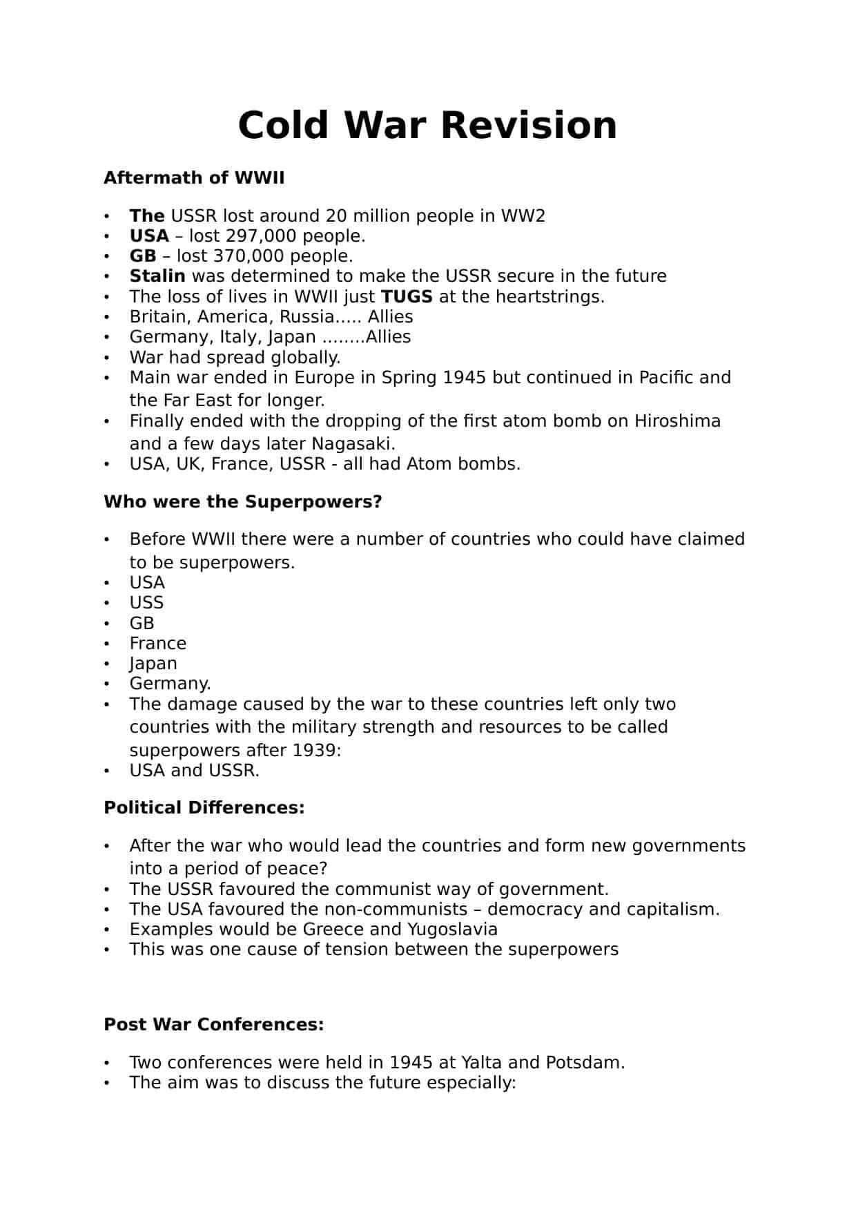 Igcse Cold War Revision Notes