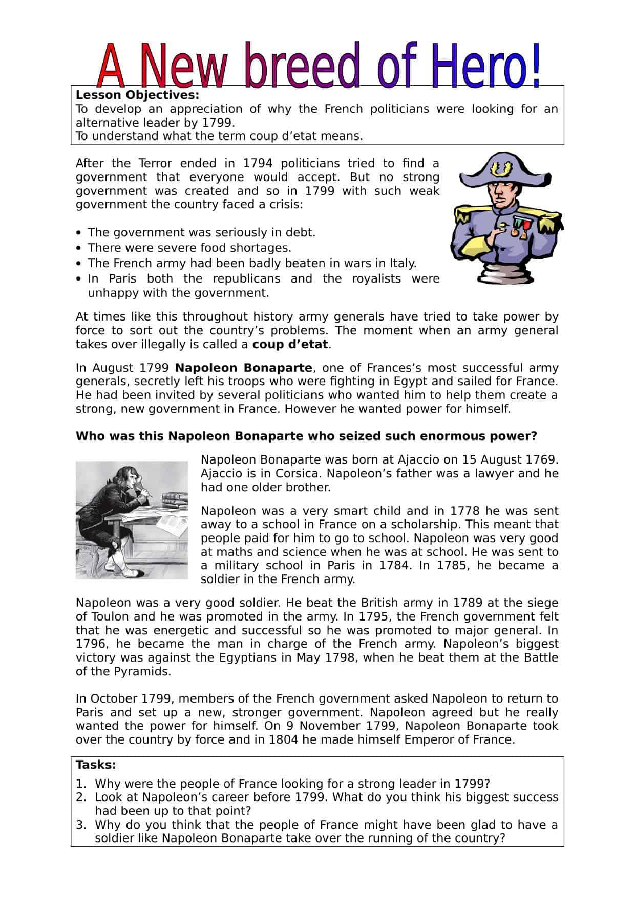 Napoleon S Rise To Power Worksheet