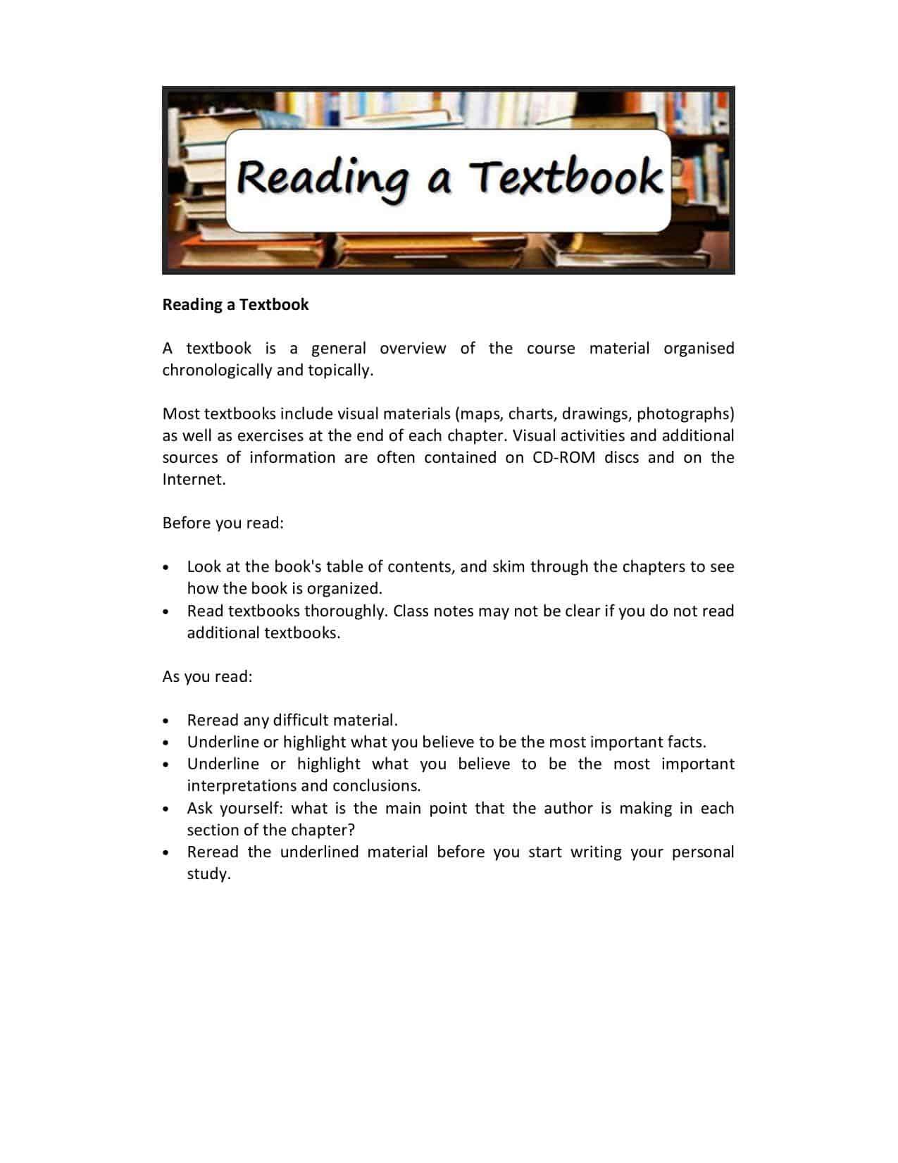 A Level Reading A History Textbook Guide Worksheet
