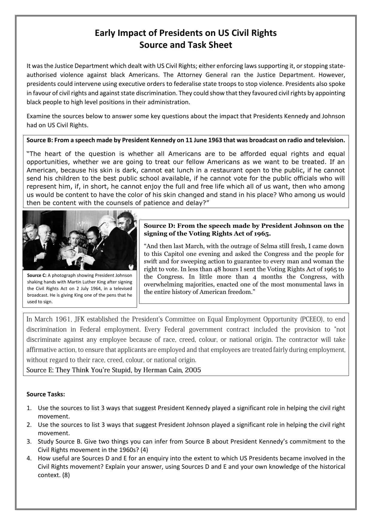 Us Civil Rights Edexcel Gcse Exam Source Questions