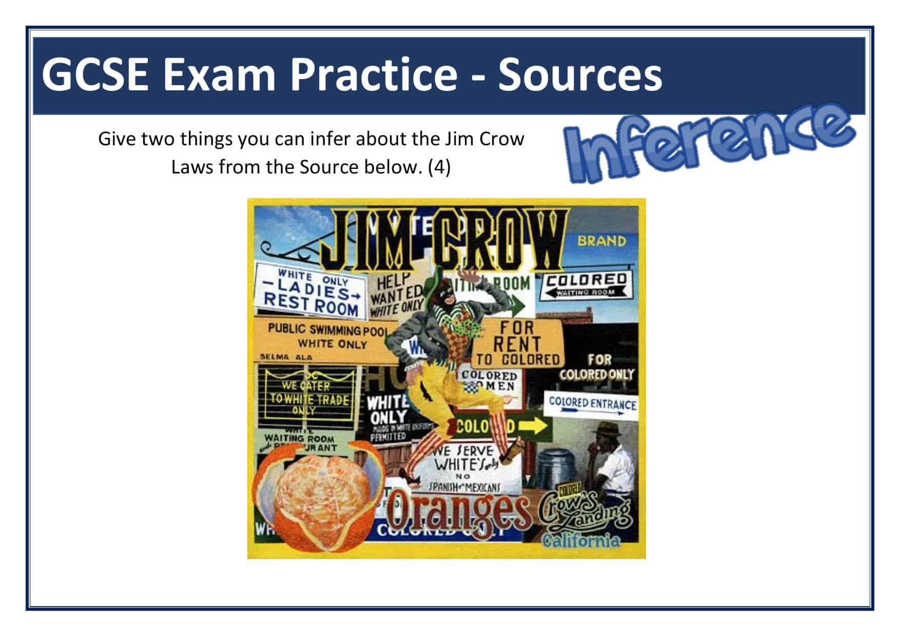 Jim Crow Laws Gcse Inference Source Question Worksheet