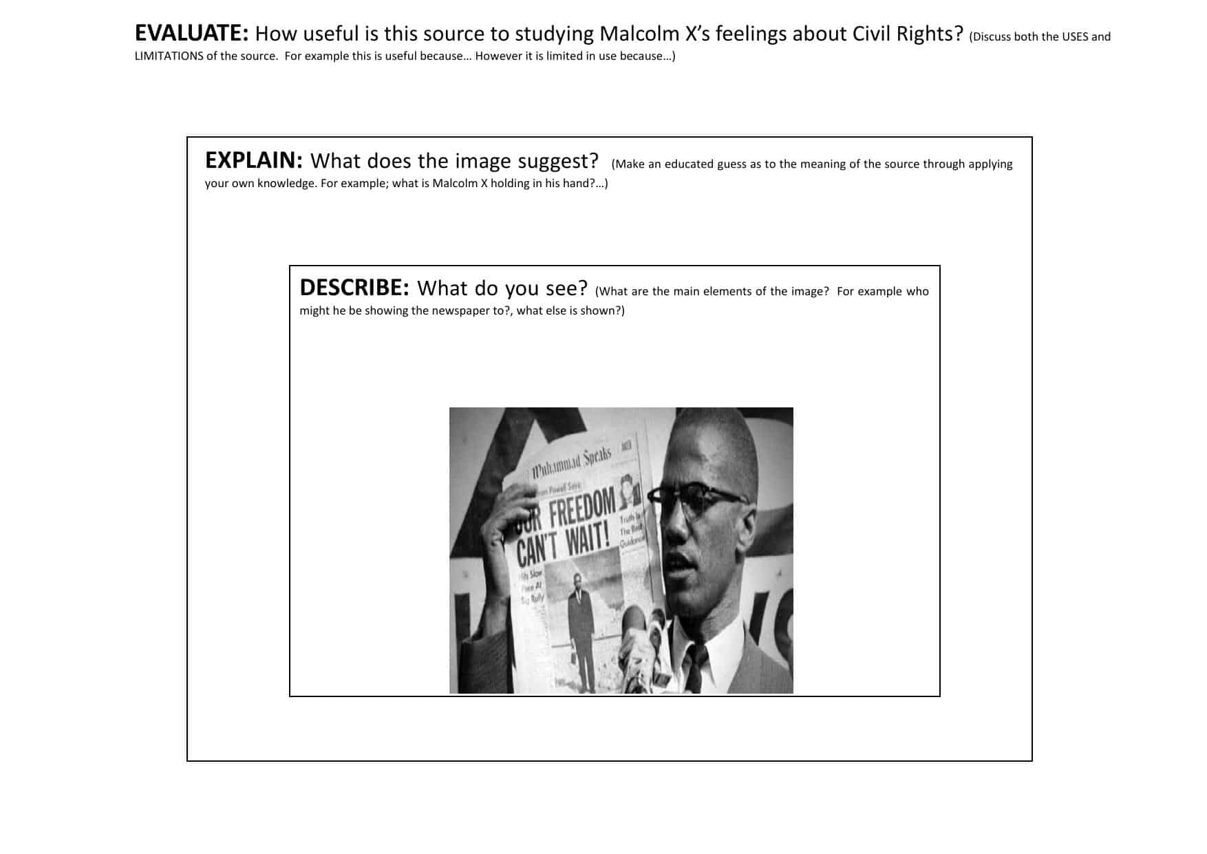 Malcolm X Gcse Source Activity