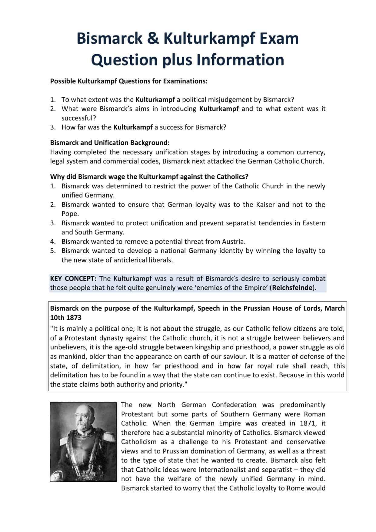German Unification Worksheets
