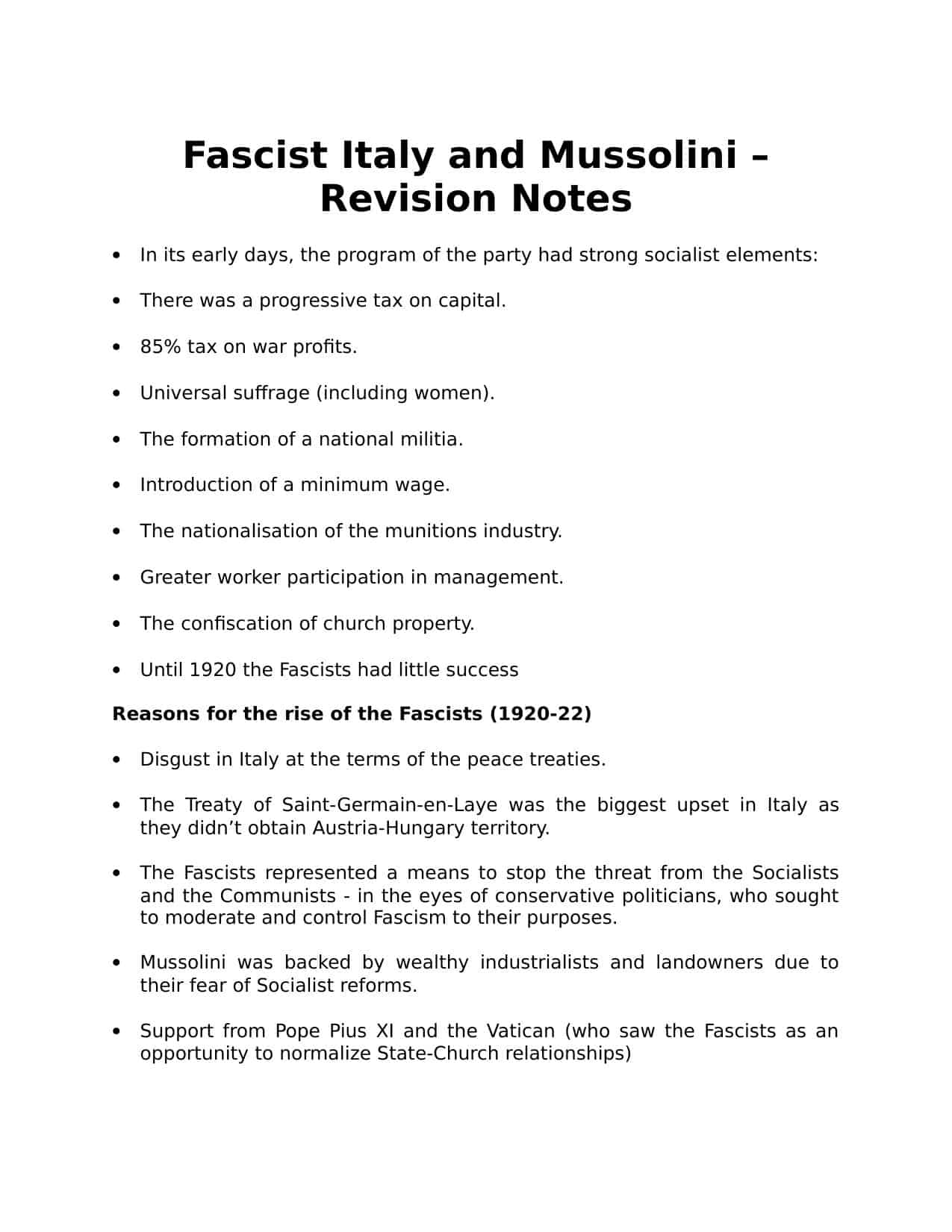 Fascist Italy And Mussolini Worksheet