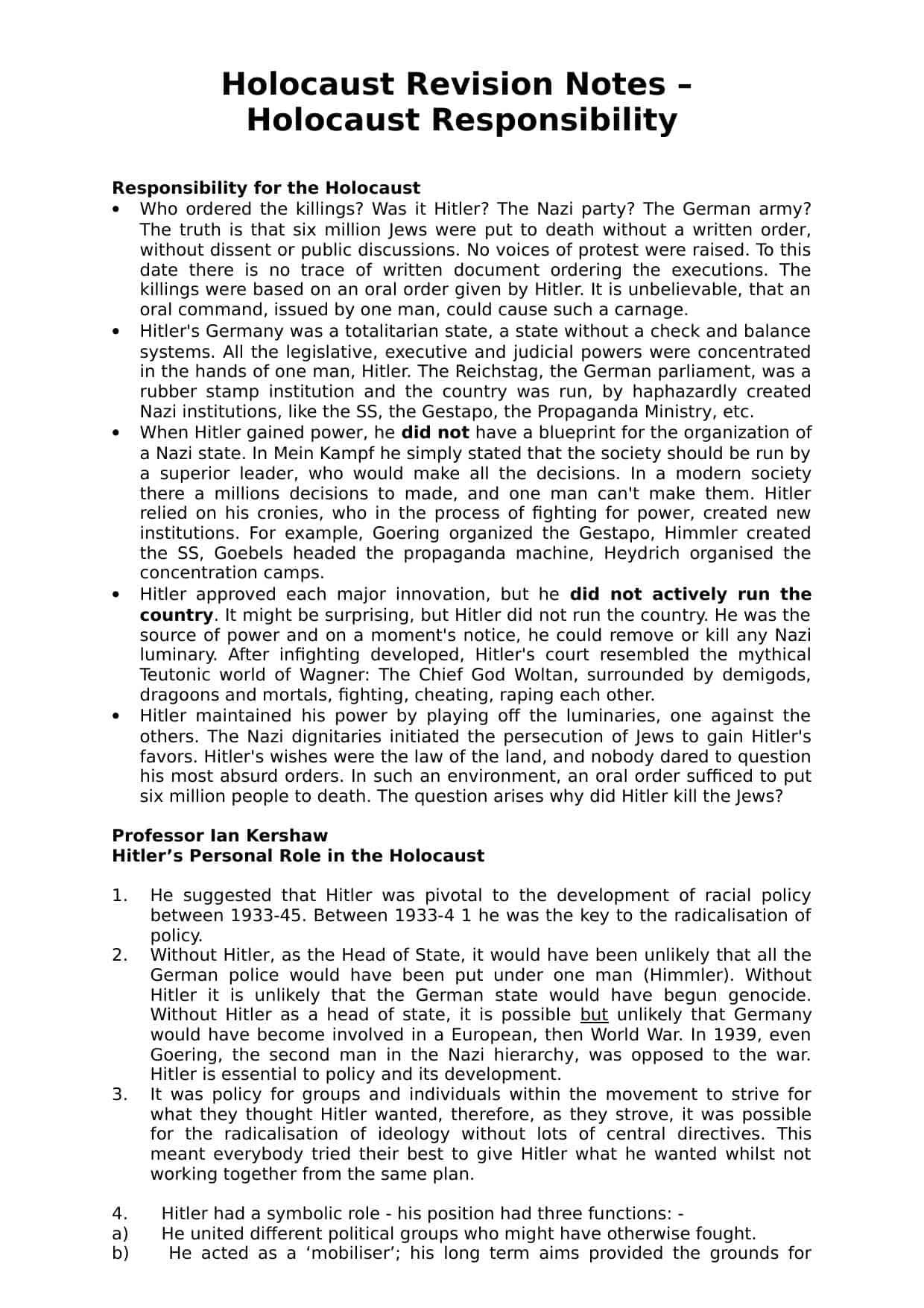 Holocaust Responsibility Revision Worksheet