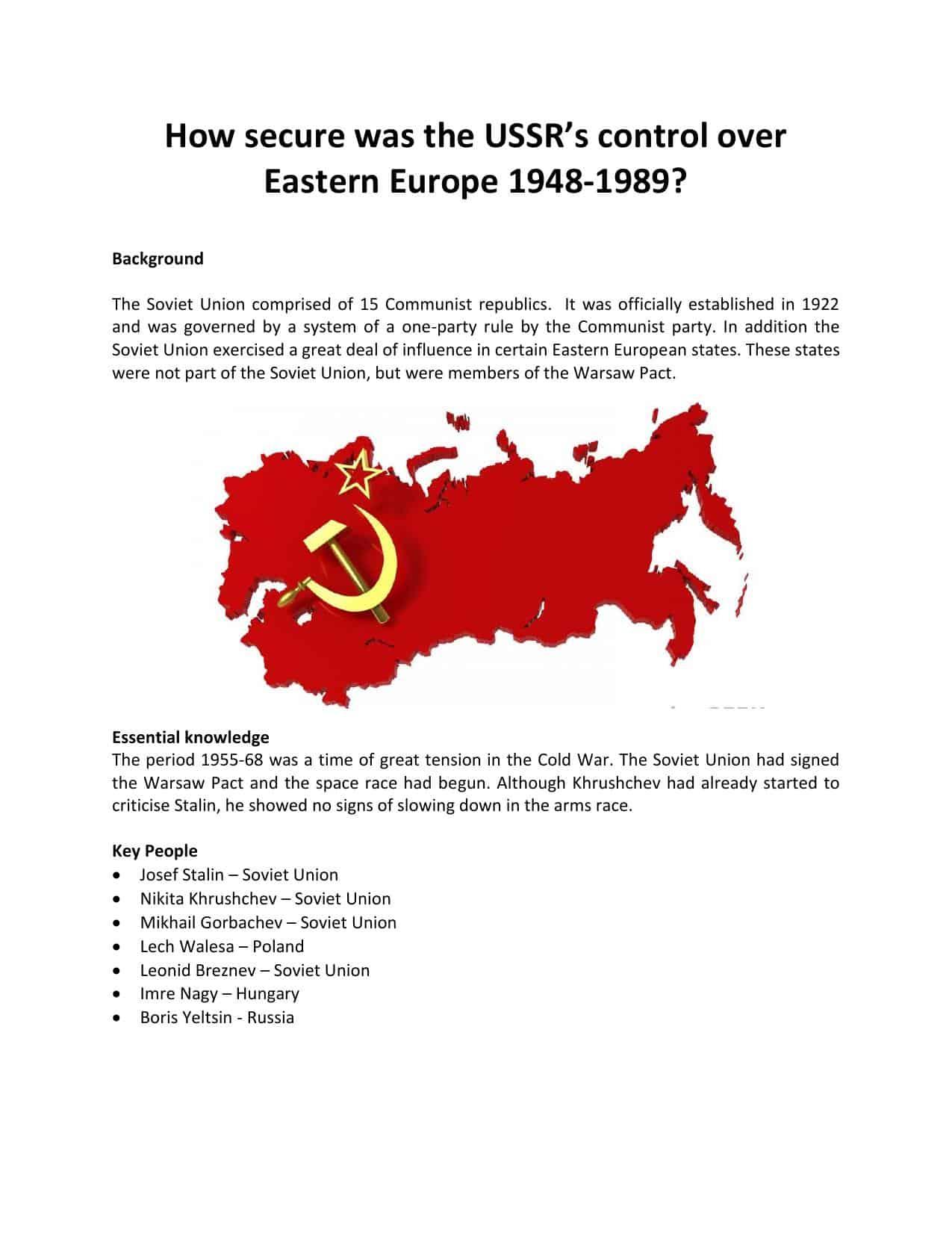The Cold War Worksheets