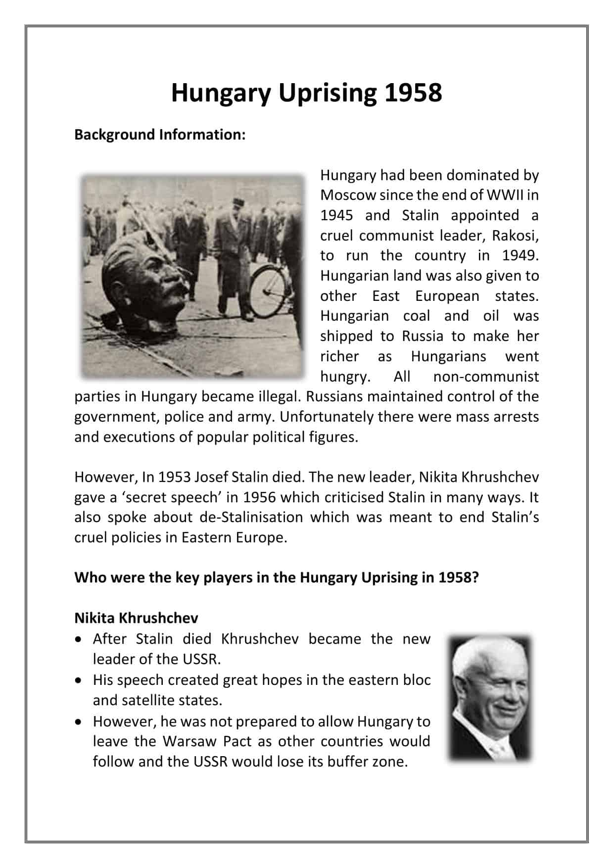Hungary Uprising Facts Amp Worksheet