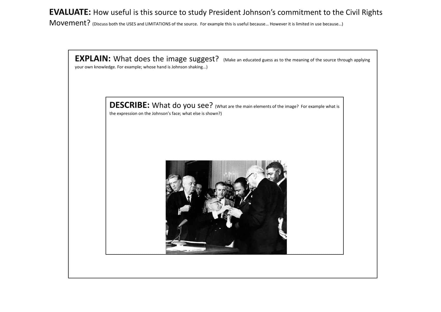 Johnson And Civil Rights Gcse Source Activity