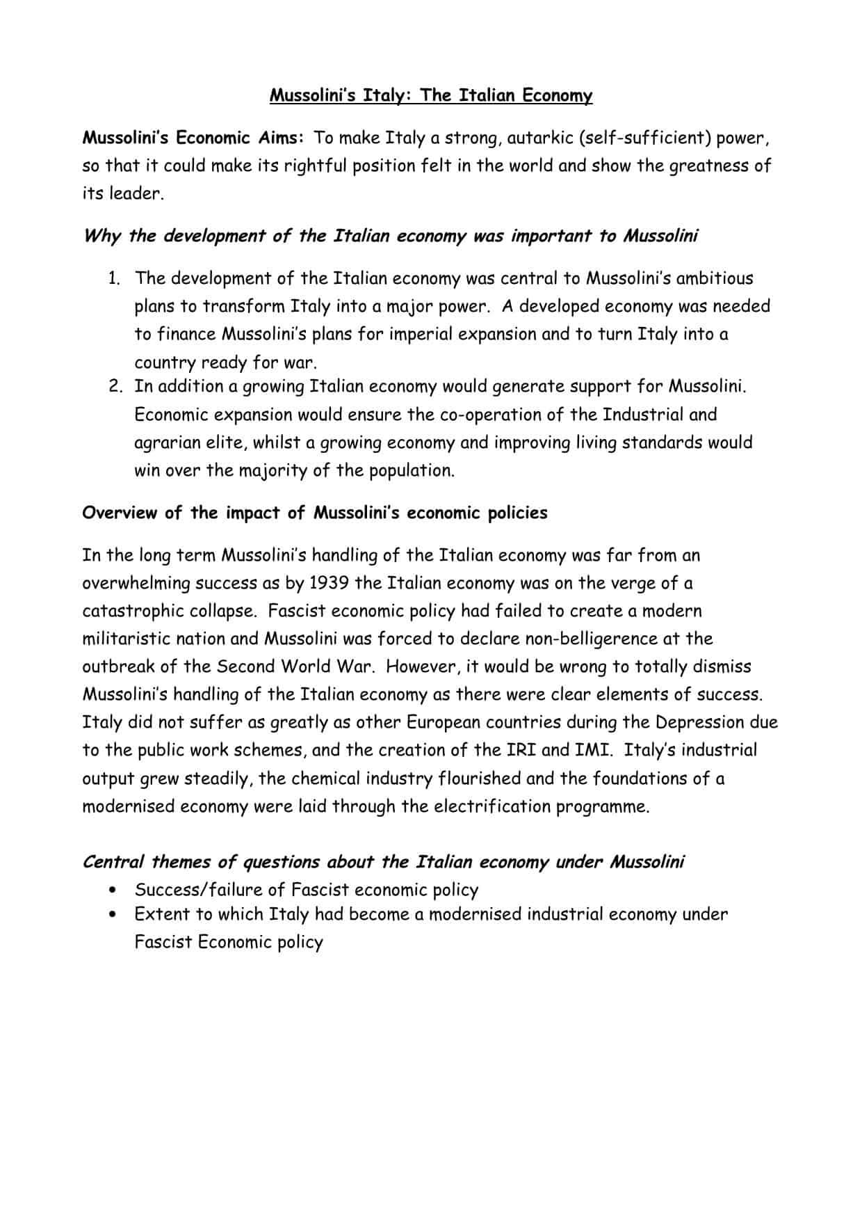 Mussolini S Economic Policies Worksheet