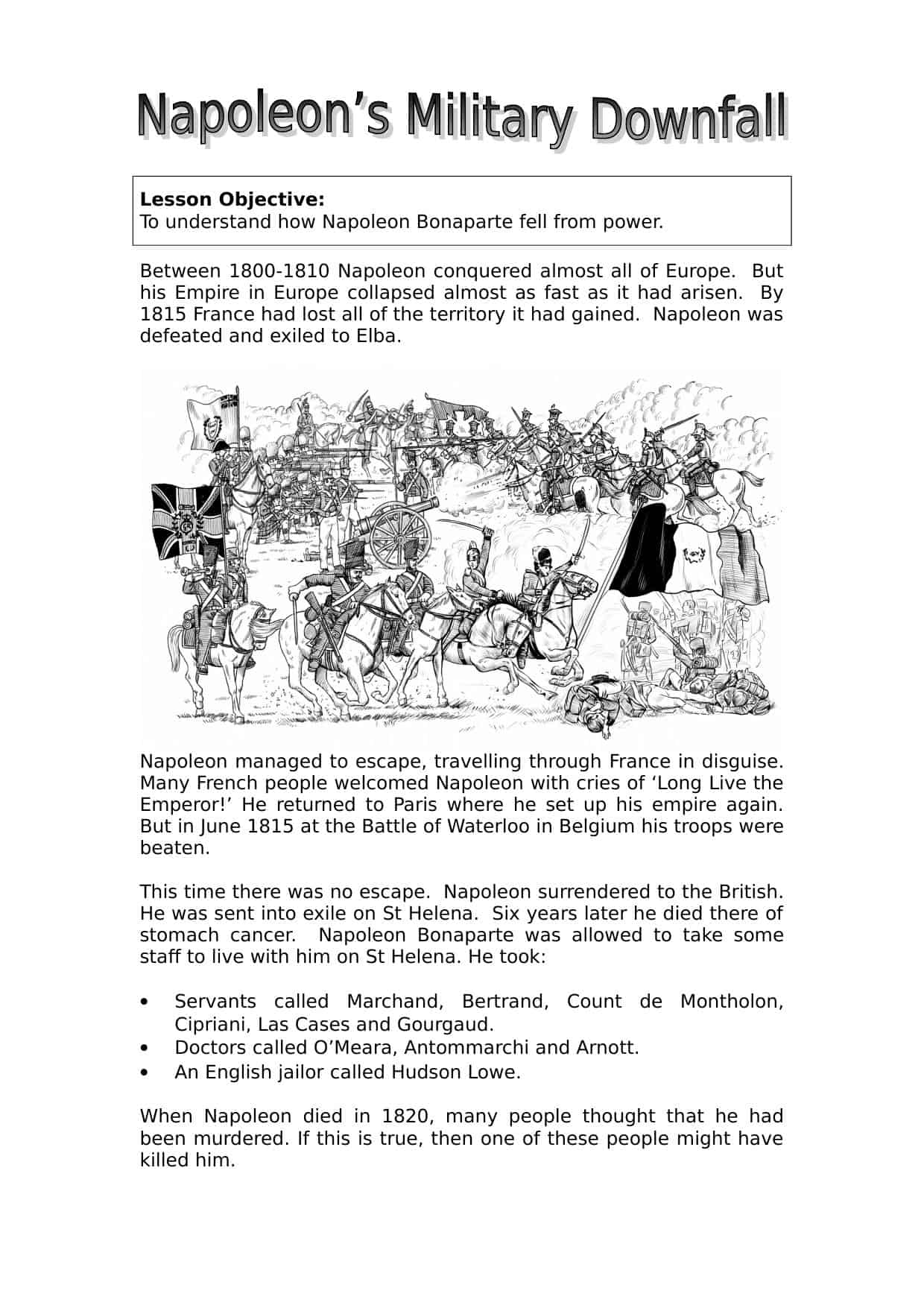 Napoleon S Downfall Overview Worksheet