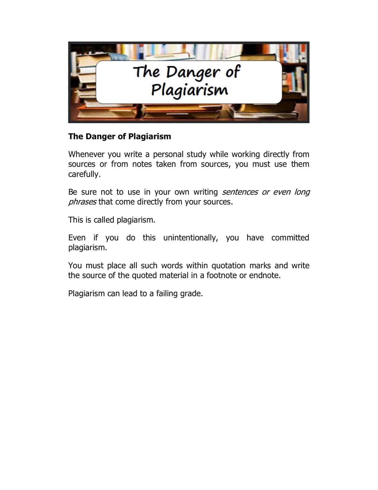 The Danger Of Plagiarism Worksheet