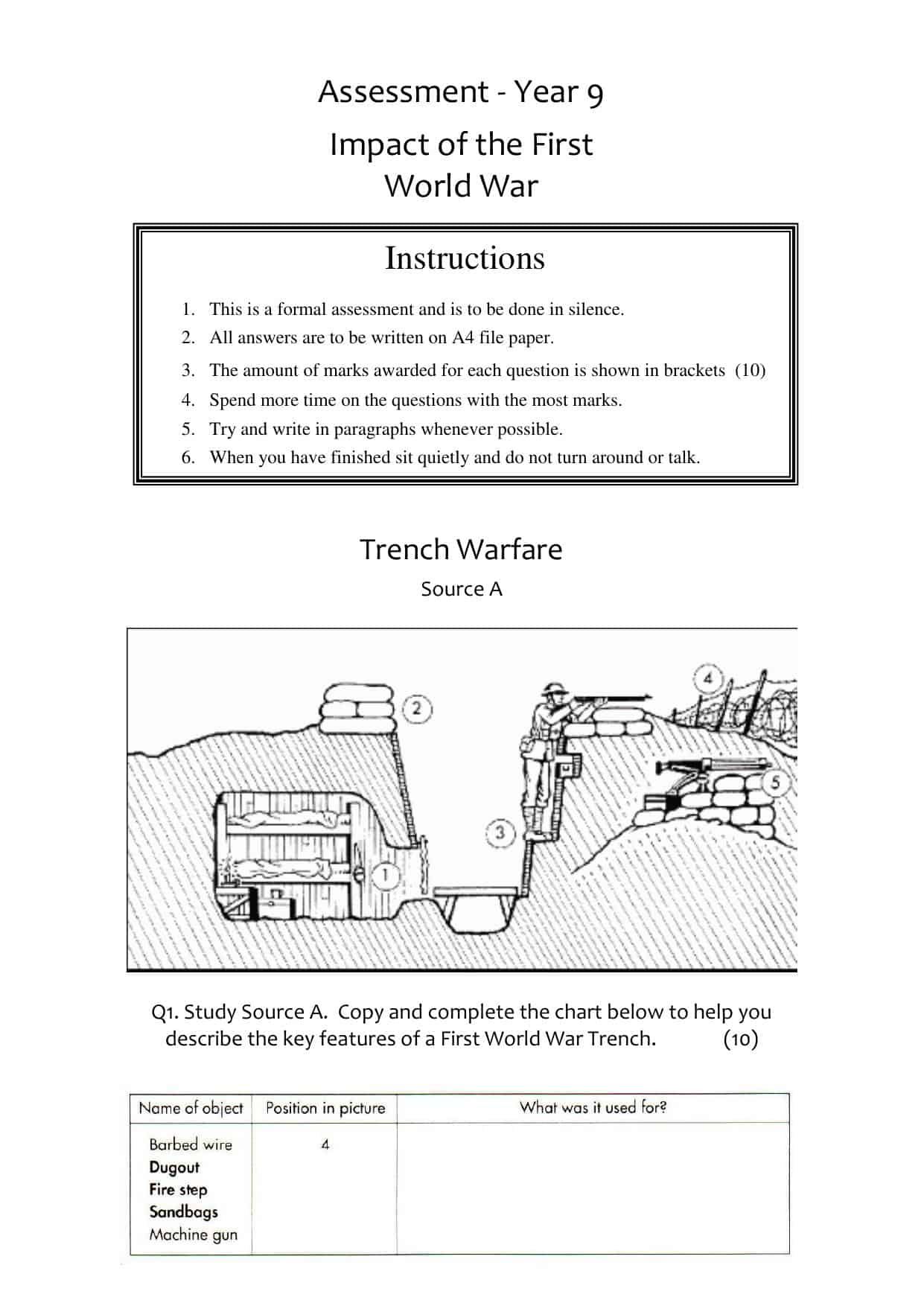 Ww1 The Great War Worksheets