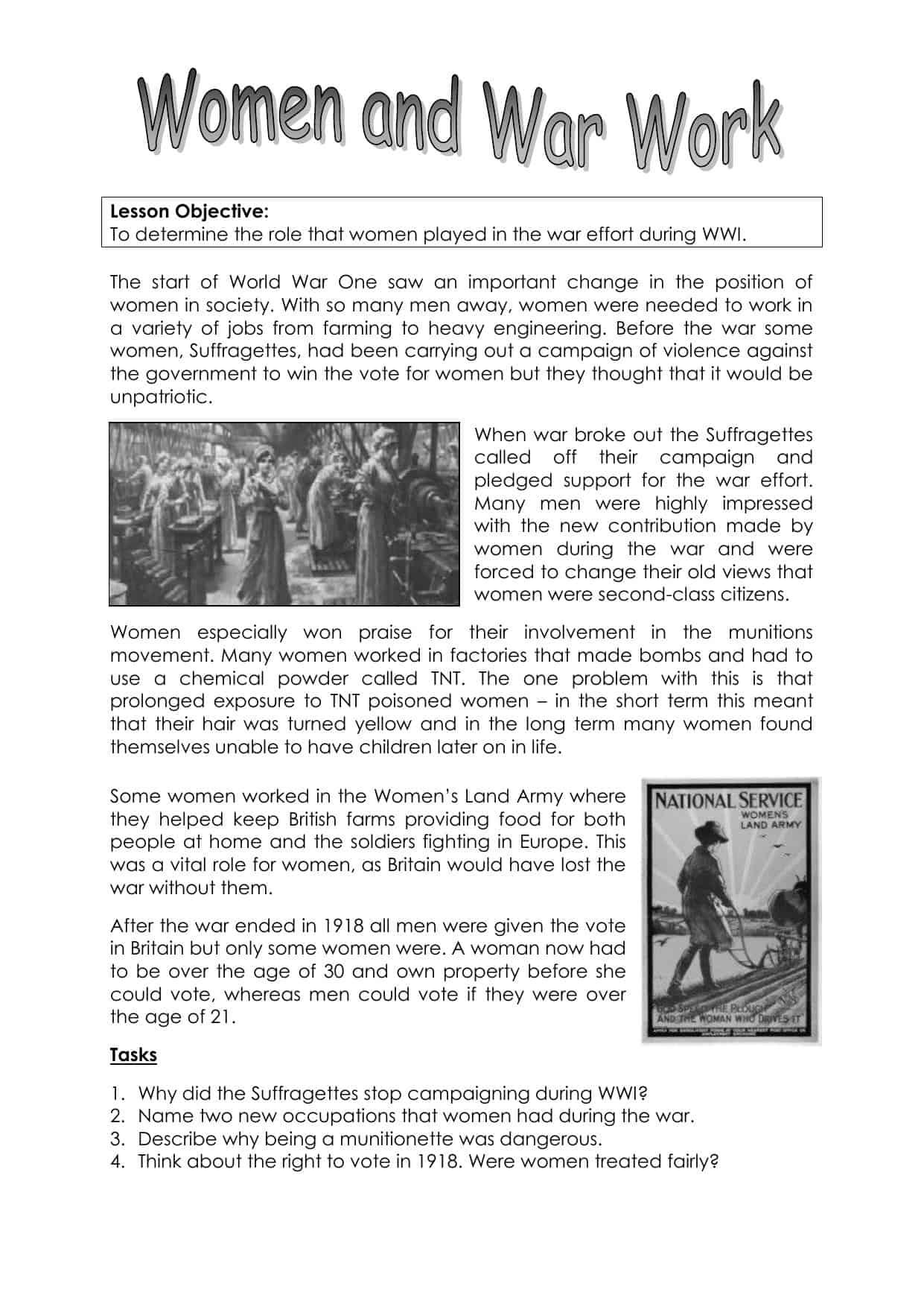 Women And The First World War Worksheet