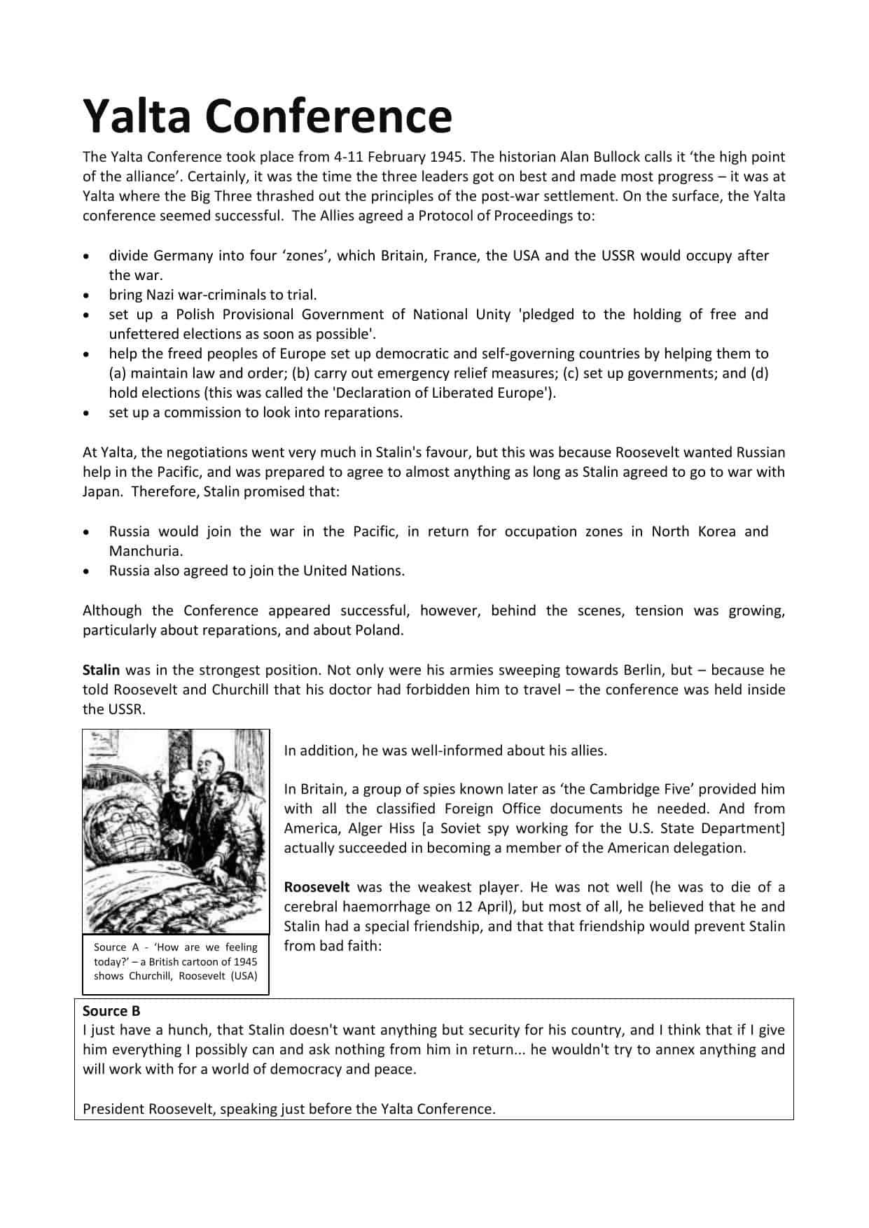 Yalta Conference Facts Amp Information Worksheet