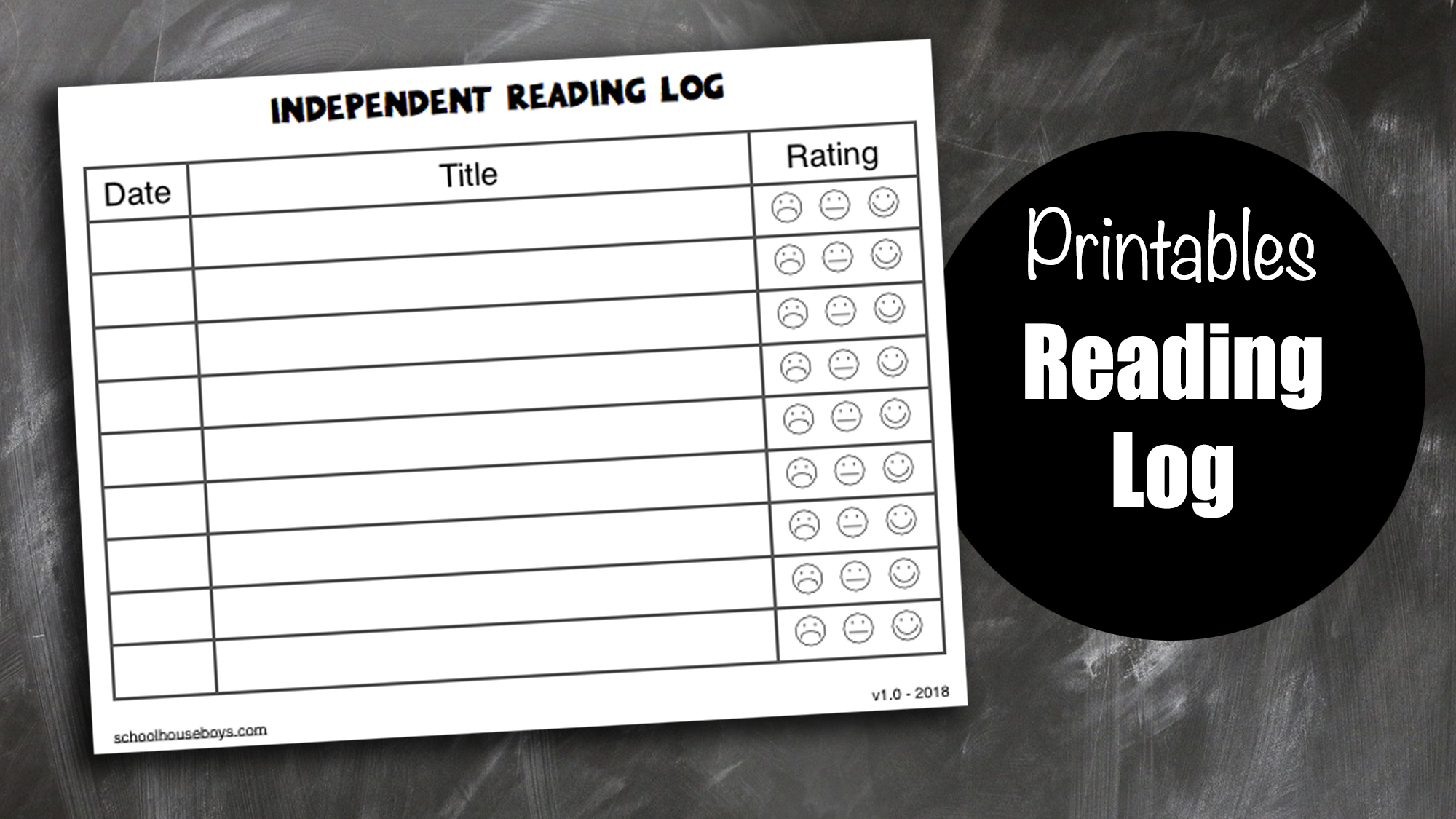 Simple Reading Log Free Printable Schoolhouse Boys