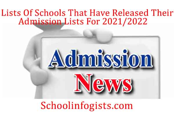 lists of school thats have released their admission  lists
