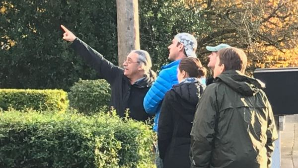 Checking out the wind damage on a local walkabout with the students