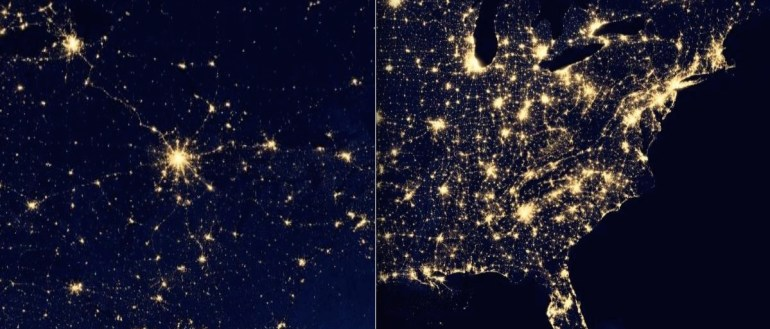 The Russian (left) and the US (right) urban systems from space